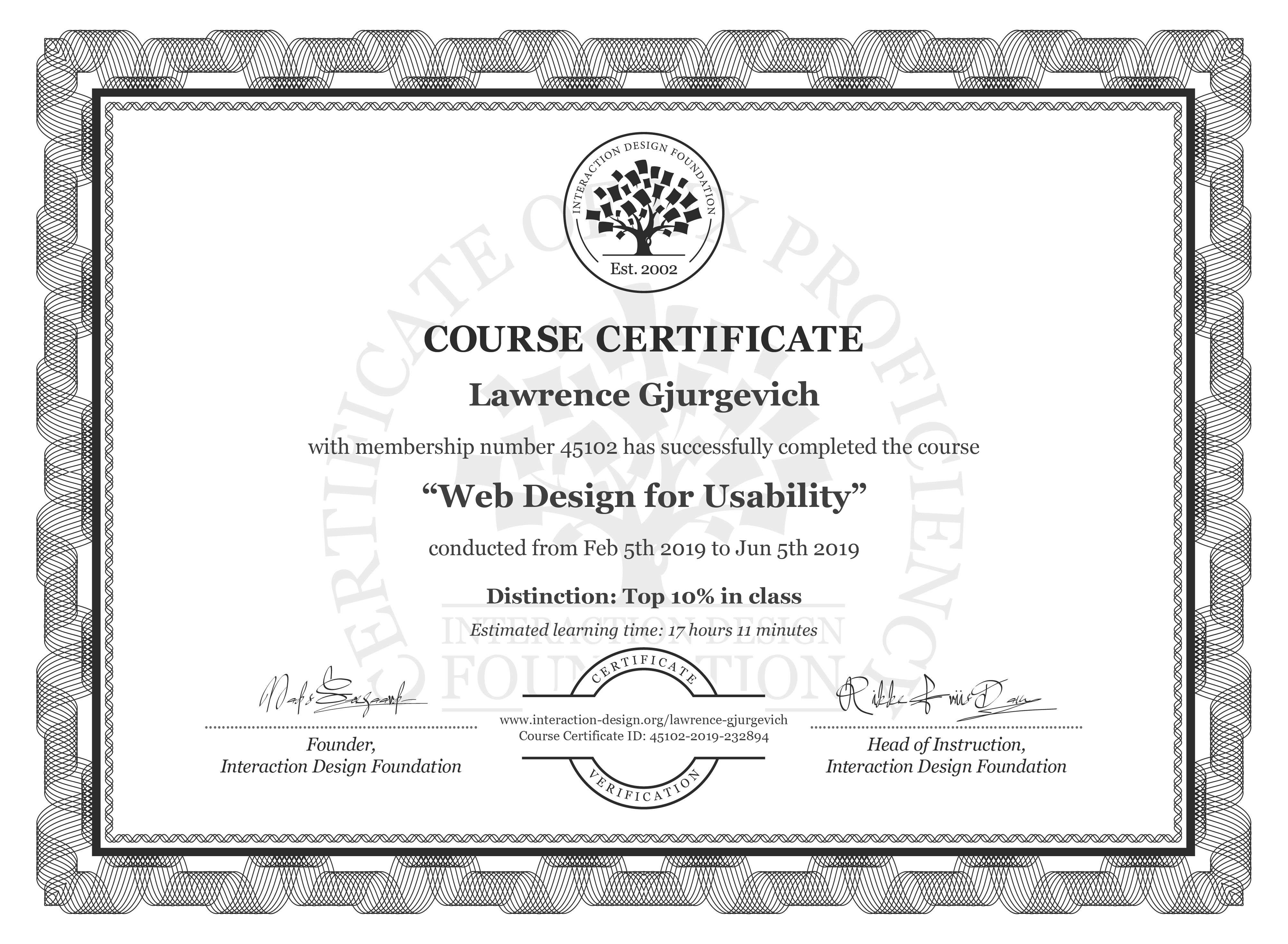 Lawrence Gjurgevich: Course Certificate - Web Design for Usability
