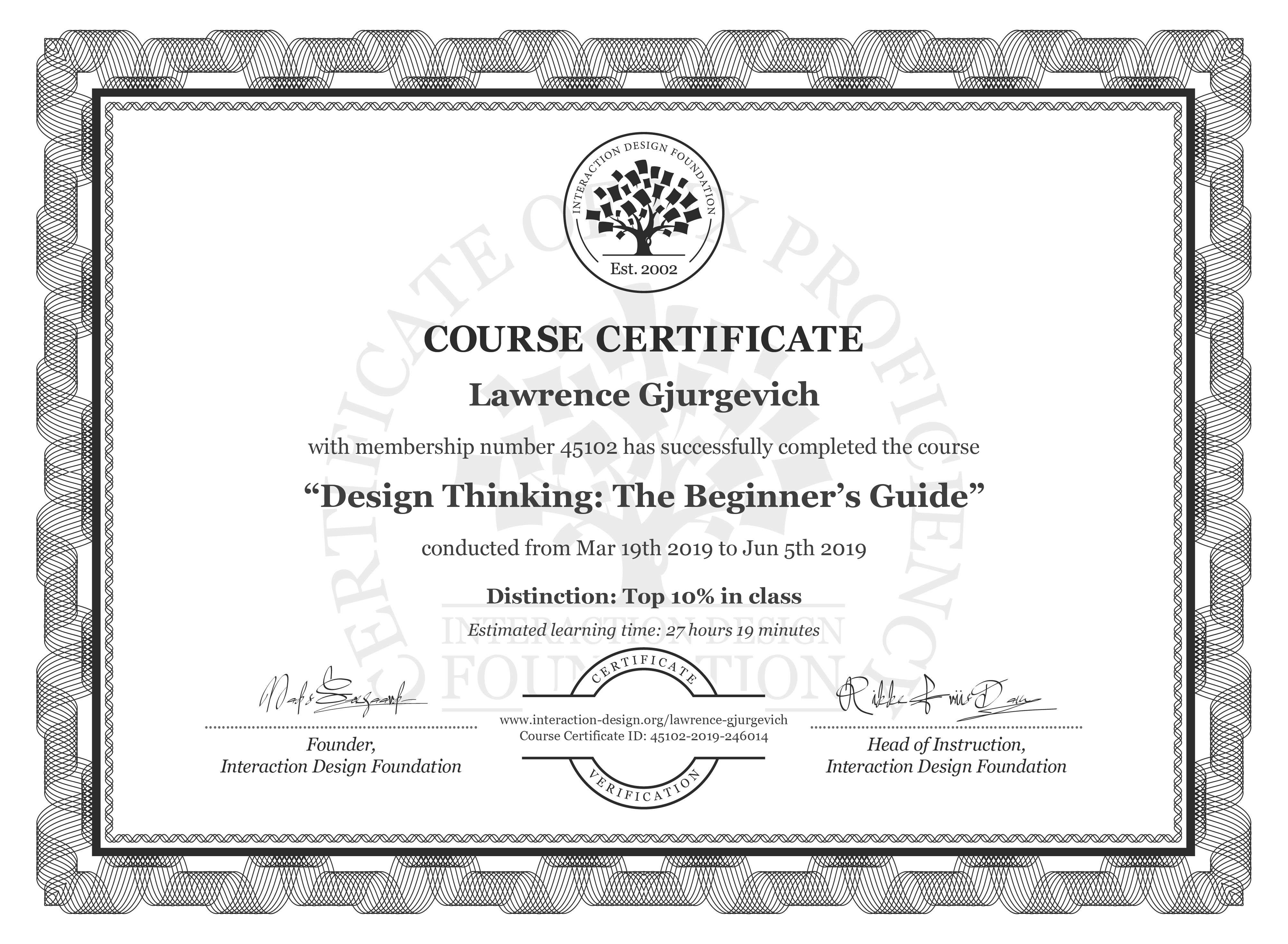 Lawrence Gjurgevich: Course Certificate - Design Thinking: The Beginner's Guide