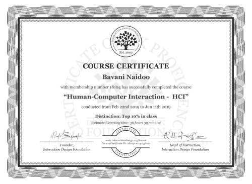 Bavani Naidoo's Course Certificate: Human-Computer Interaction -  HCI