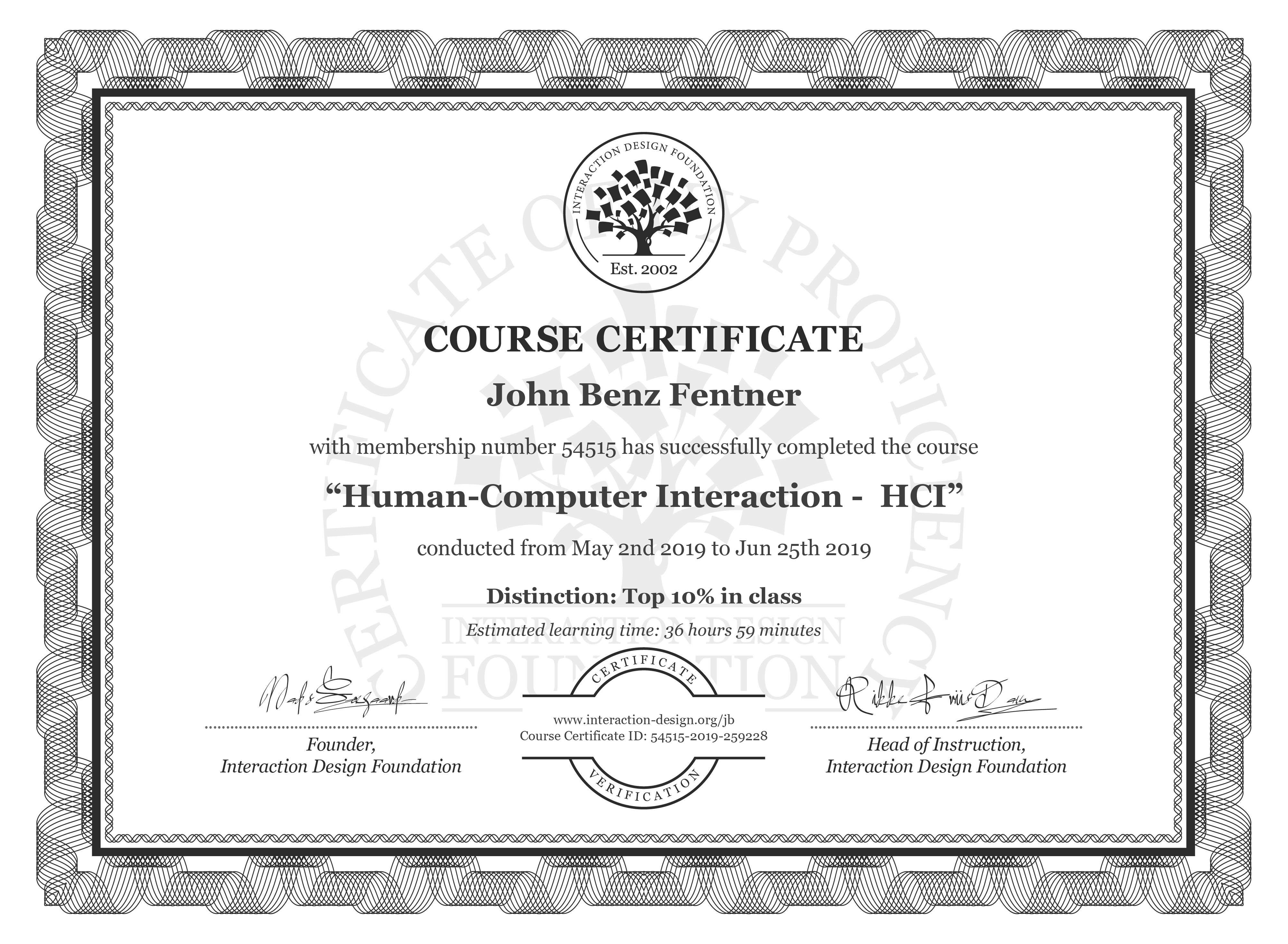 John Benz Fentner's Course Certificate: Human-Computer Interaction -  HCI