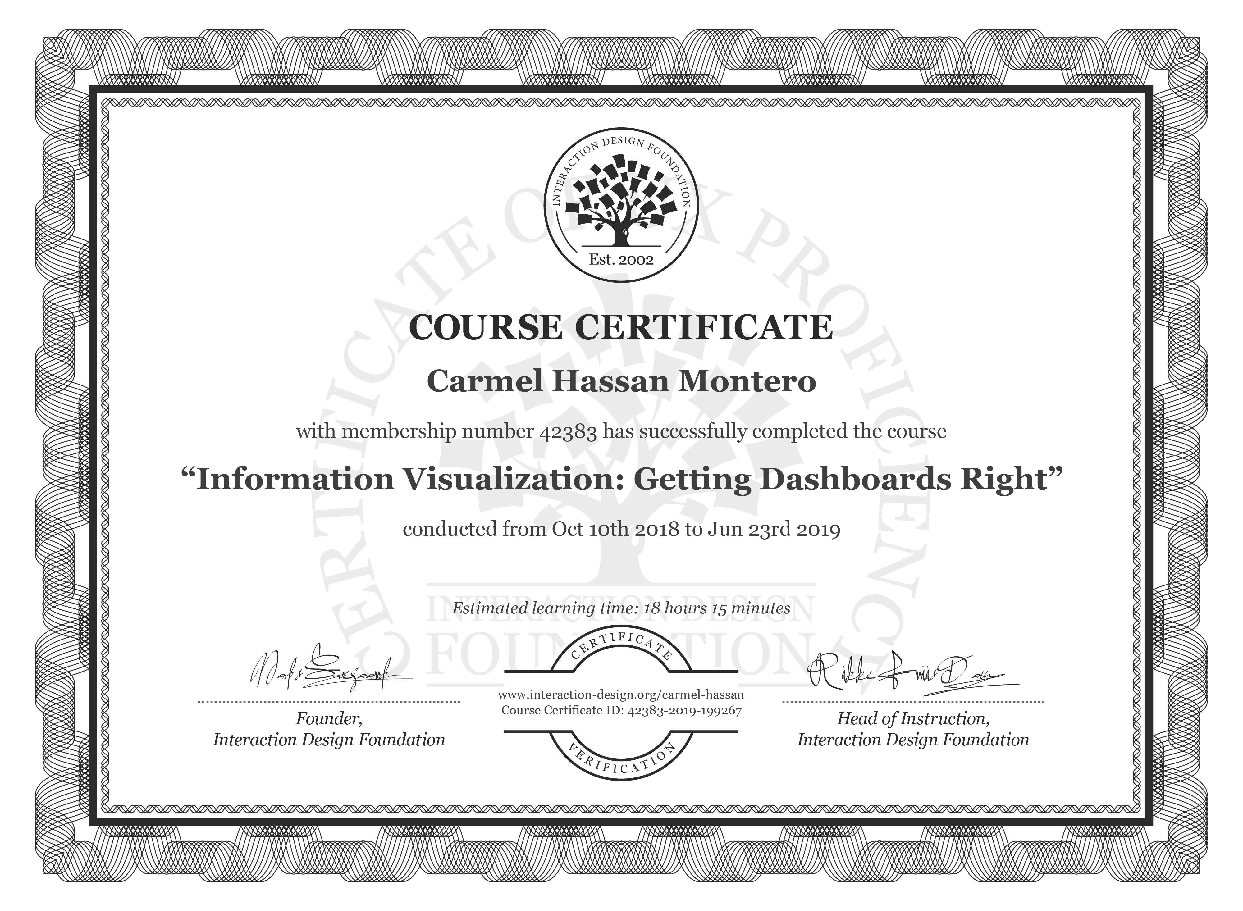 Carmel Hassan Montero's Course Certificate: Information Visualization: Getting Dashboards Right