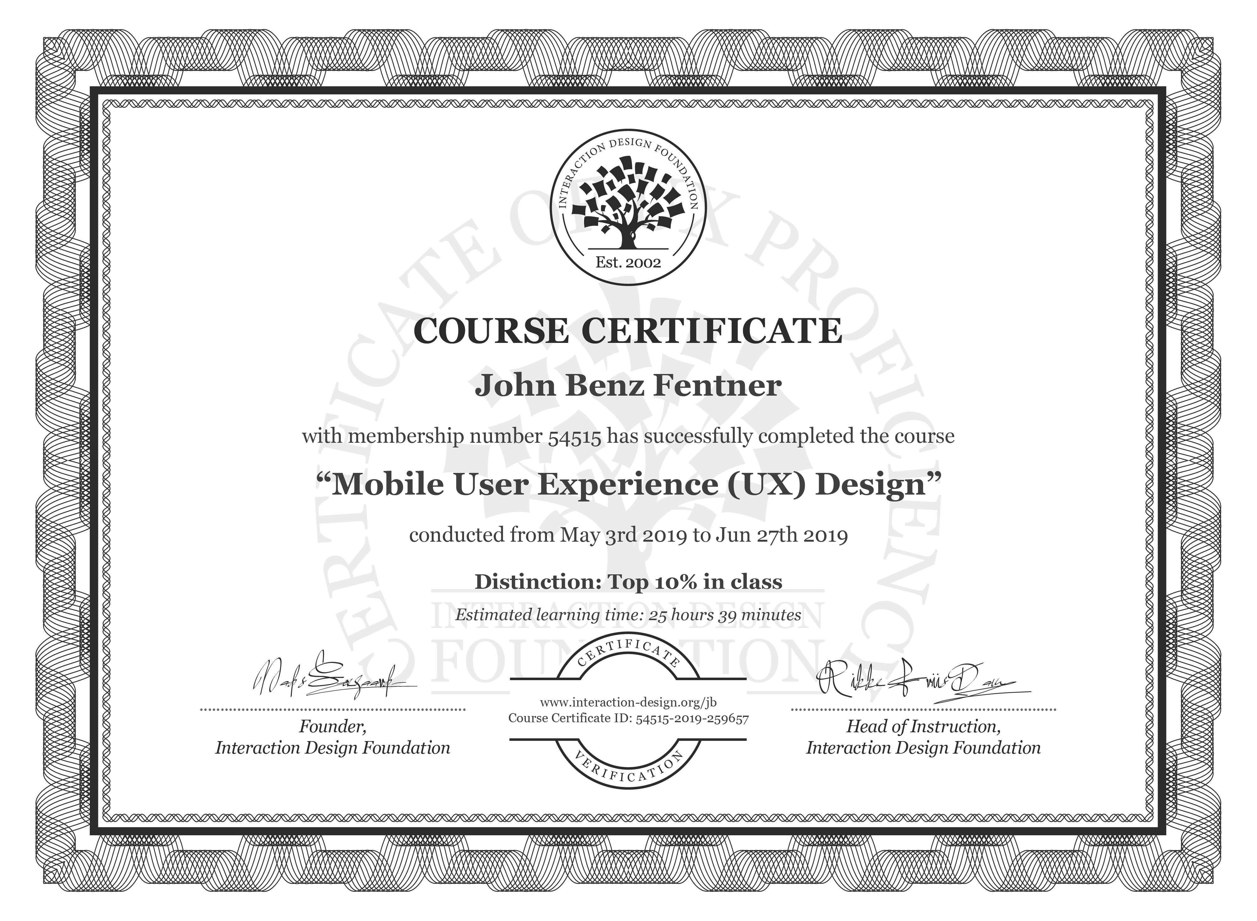 John Benz Fentner's Course Certificate: Mobile User Experience (UX) Design