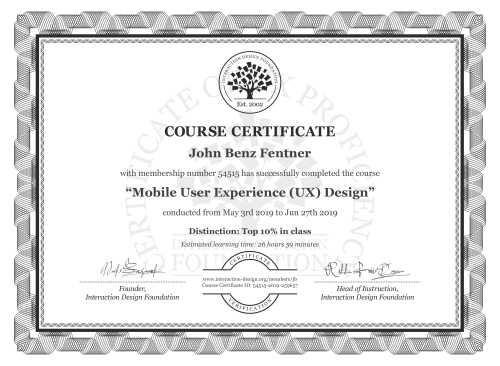 John Benz Fentner's Course Certificate: Mobile User Experience (UX) Design