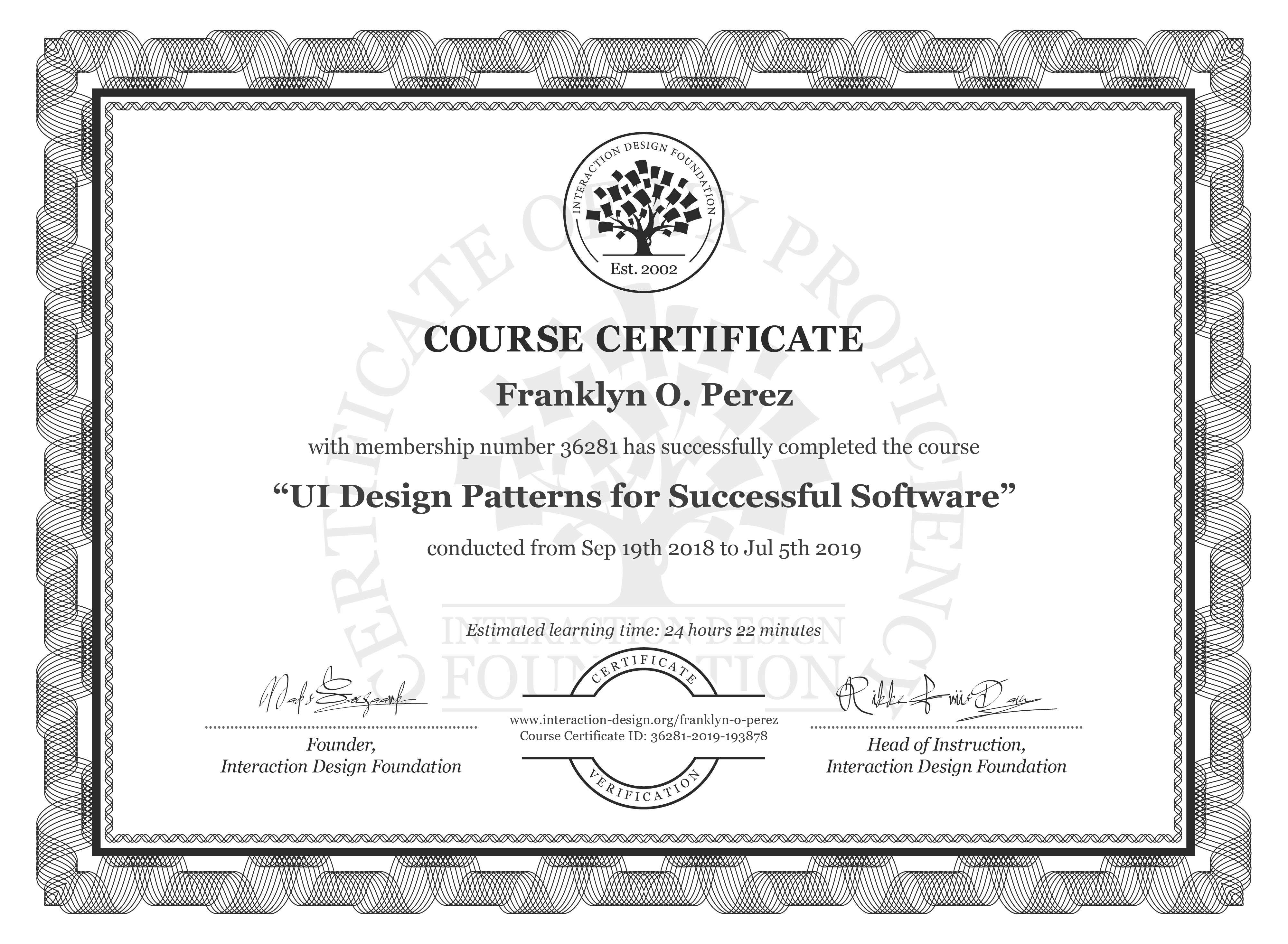 Franklyn O. Perez: Course Certificate - UI Design Patterns for Successful Software