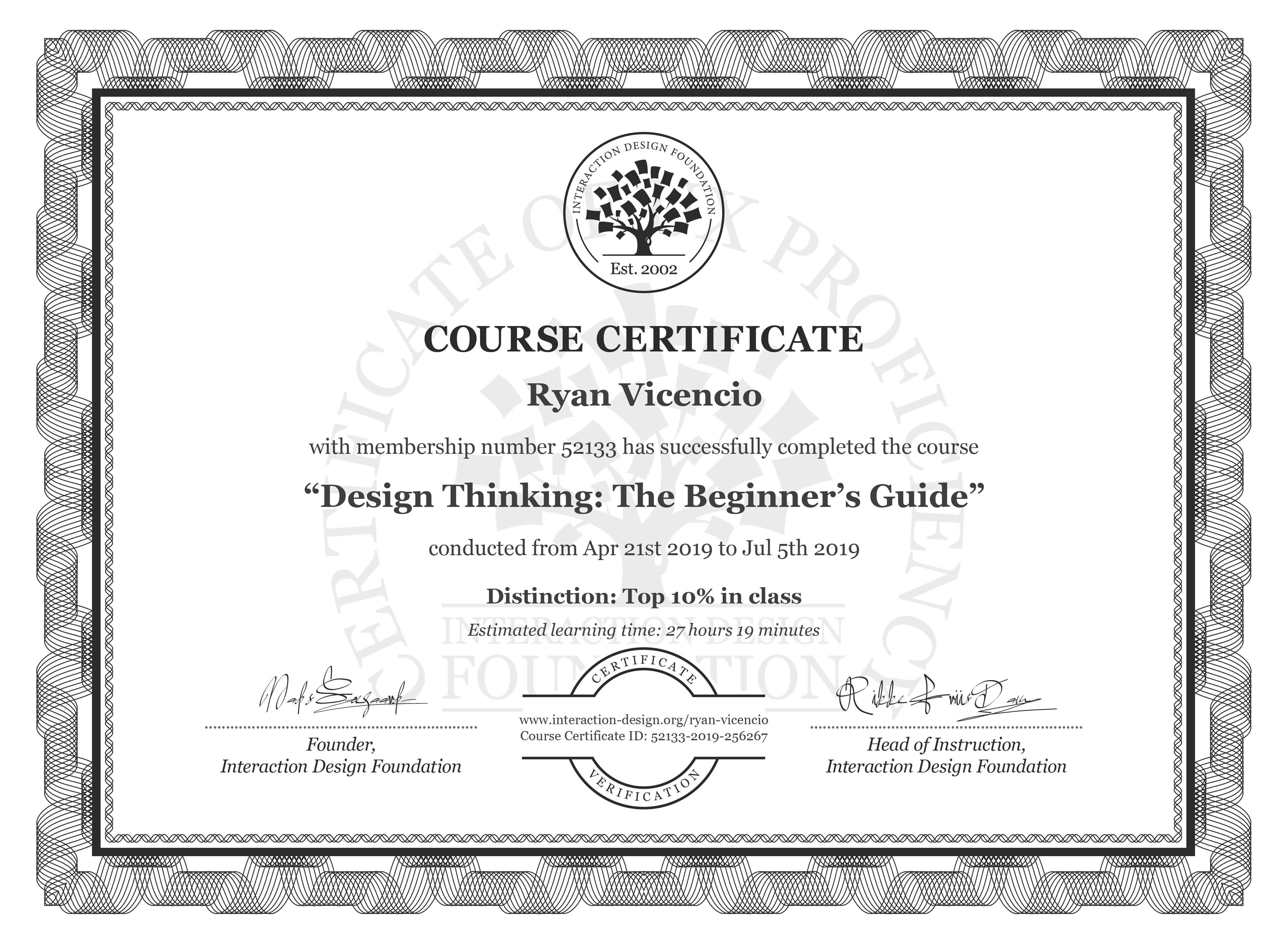 Ryan Vicencio's Course Certificate: Design Thinking: The Beginner's Guide