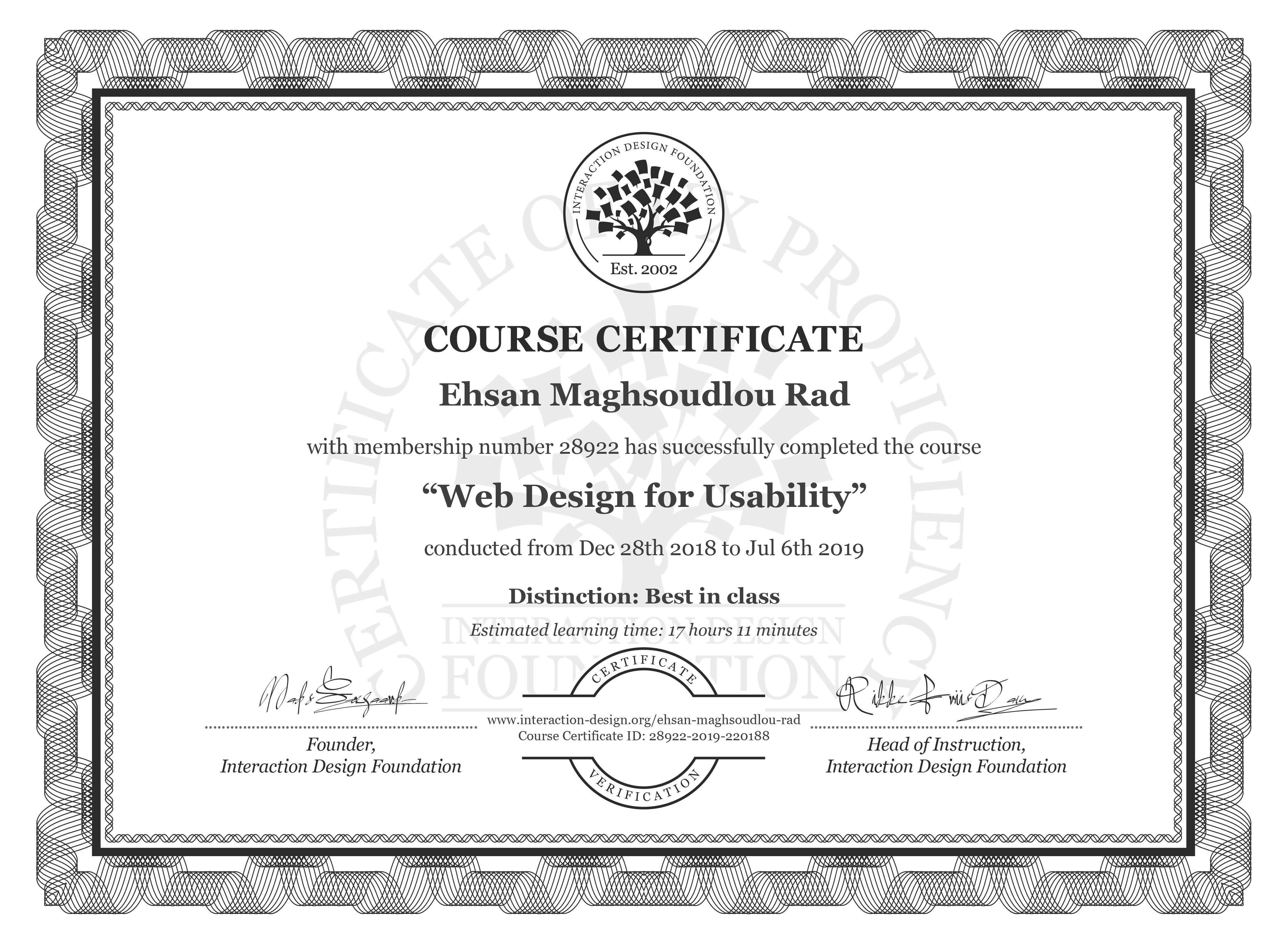 Ehsan Maghsoudlou Rad's Course Certificate: Web Design for Usability