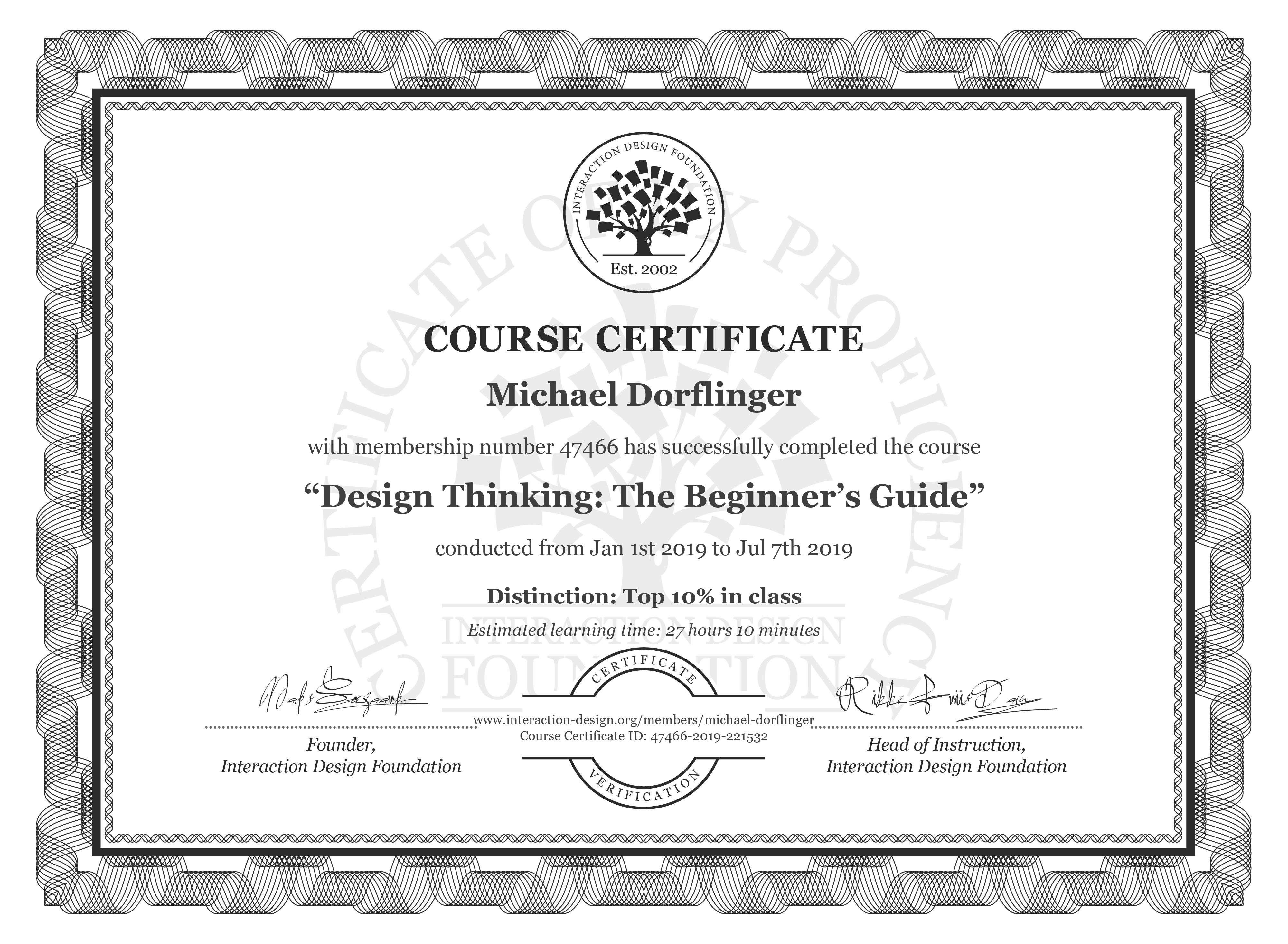 Michael Dörflinger's Course Certificate: Design Thinking: The Beginner's Guide
