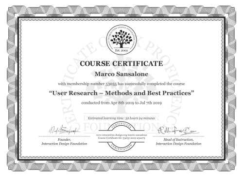 Marco Sansalone's Course Certificate: User Research – Methods and Best Practices