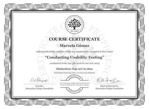 Marcela Gómez's Course Certificate: Conducting Usability Testing