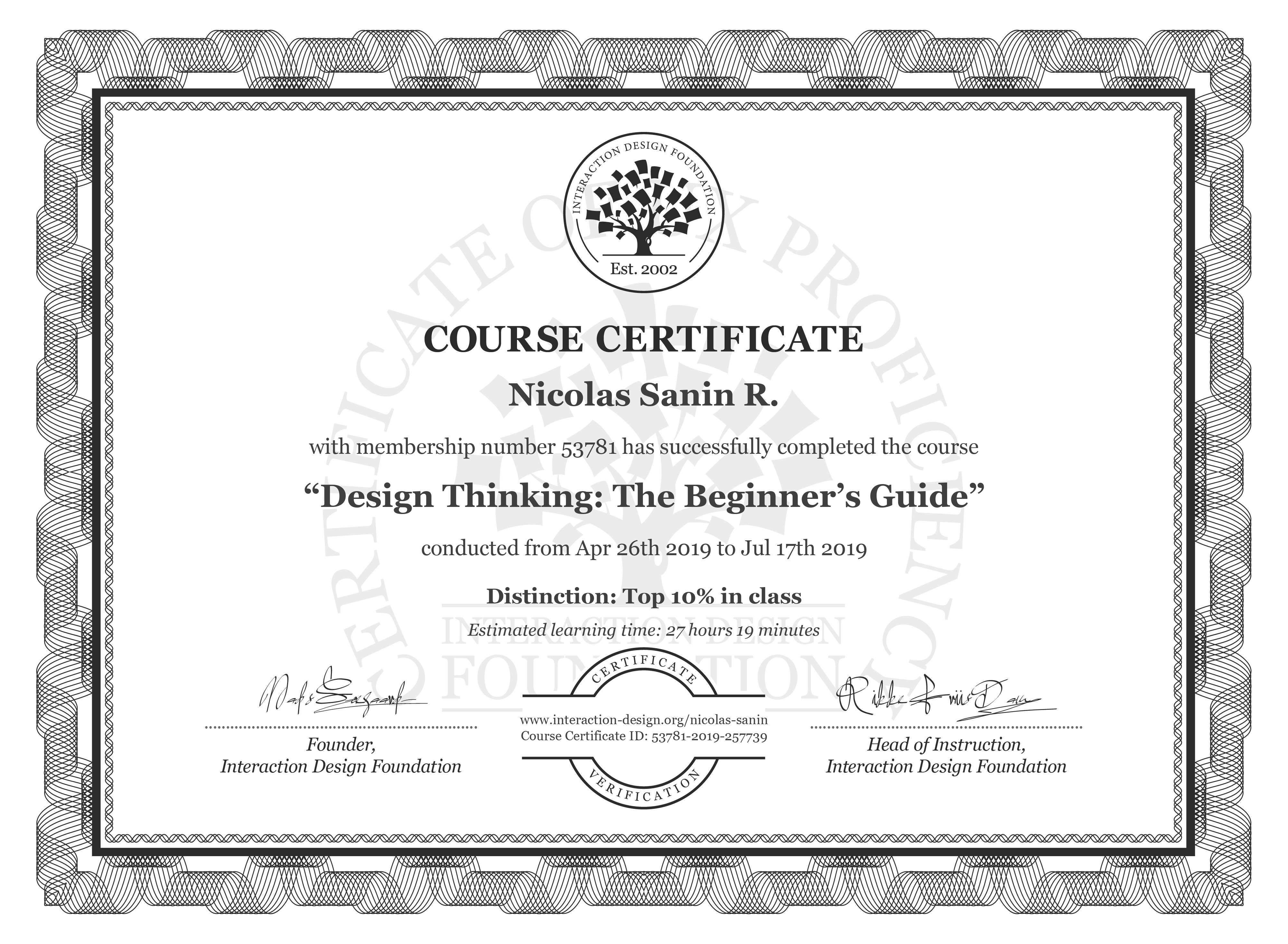 Nicolas Sanin R.: Course Certificate - Design Thinking: The Beginner's Guide