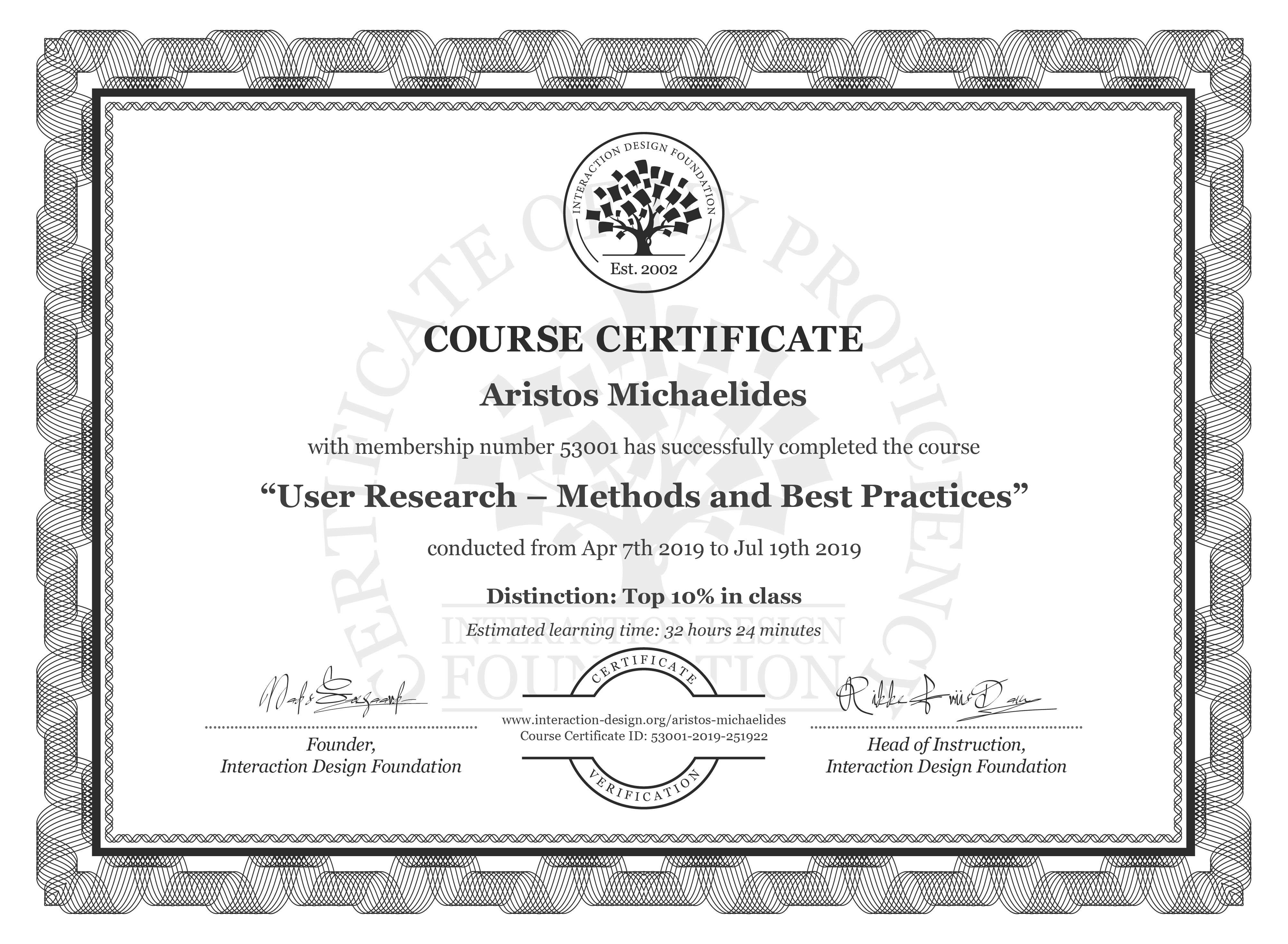 Aristos Michaelides's Course Certificate: User Research – Methods and Best Practices