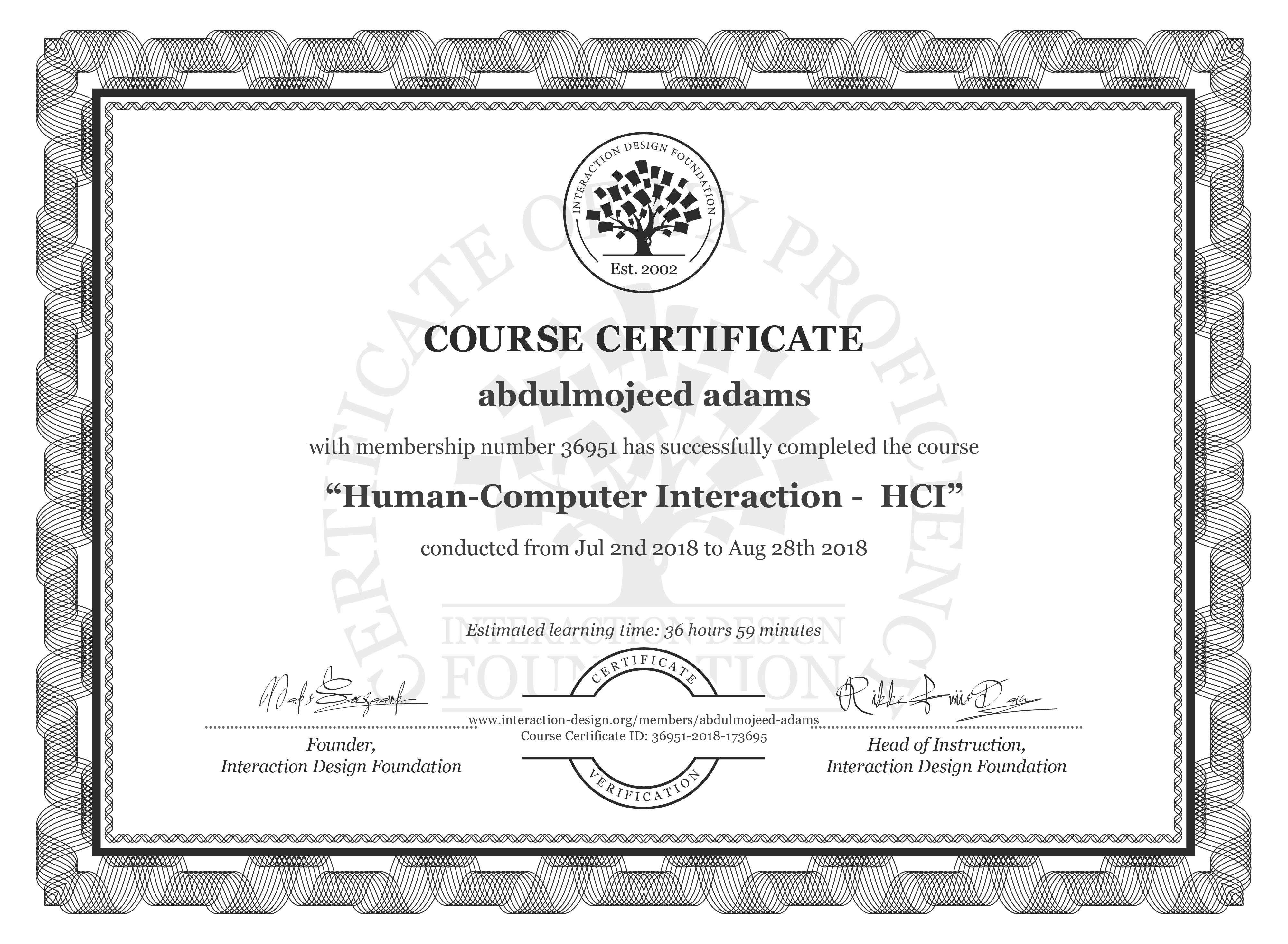 abdulmojeed adams: Course Certificate - Human-Computer Interaction -  HCI