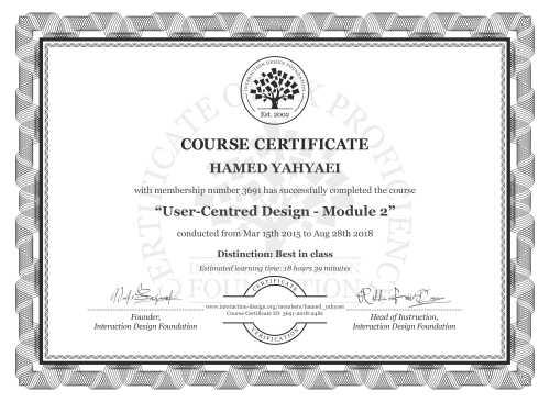 HAMED YAHYAEI's Course Certificate: User-Centred Design - Module 2