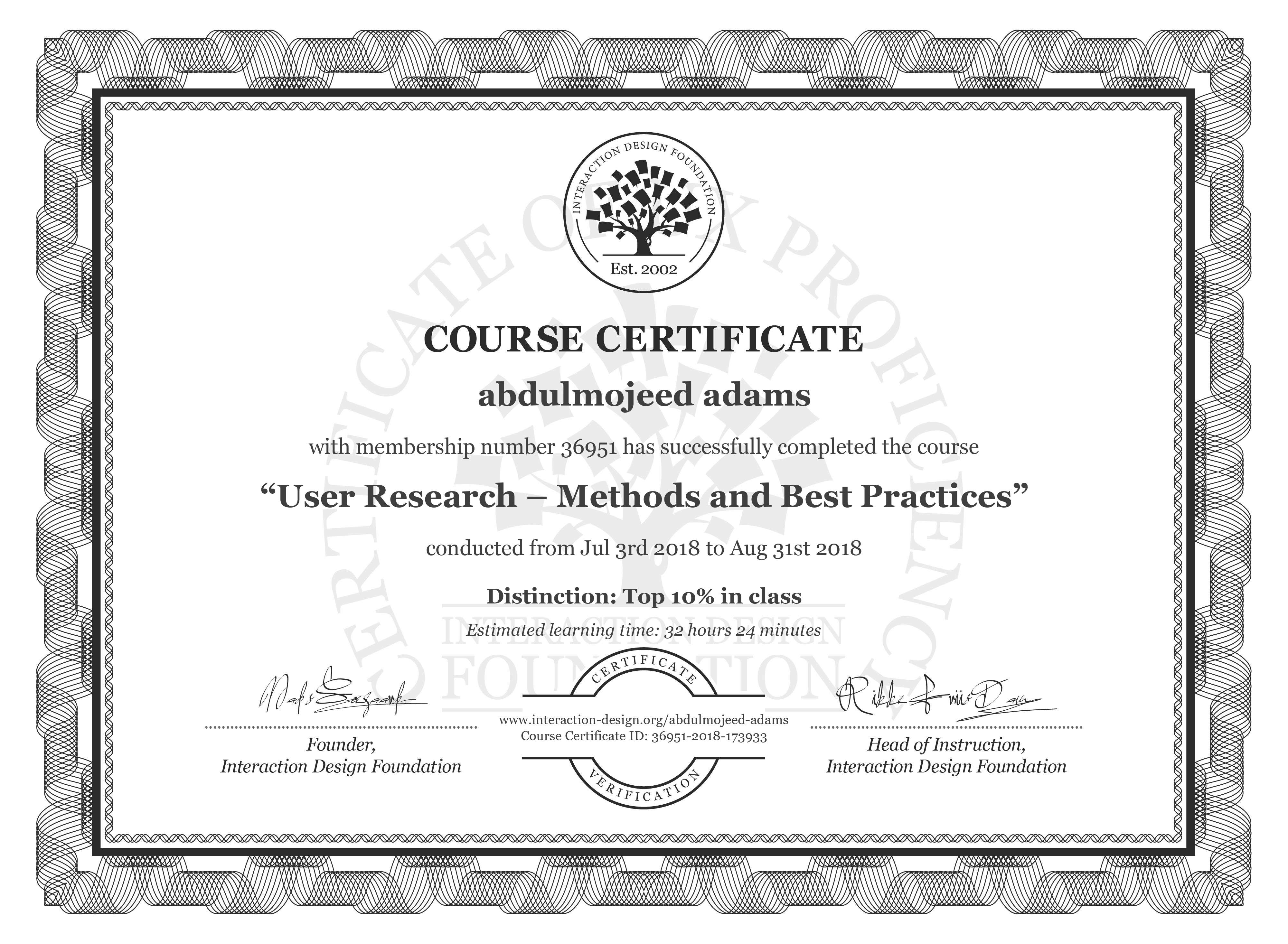 abdulmojeed adams's Course Certificate: User Research – Methods and Best Practices