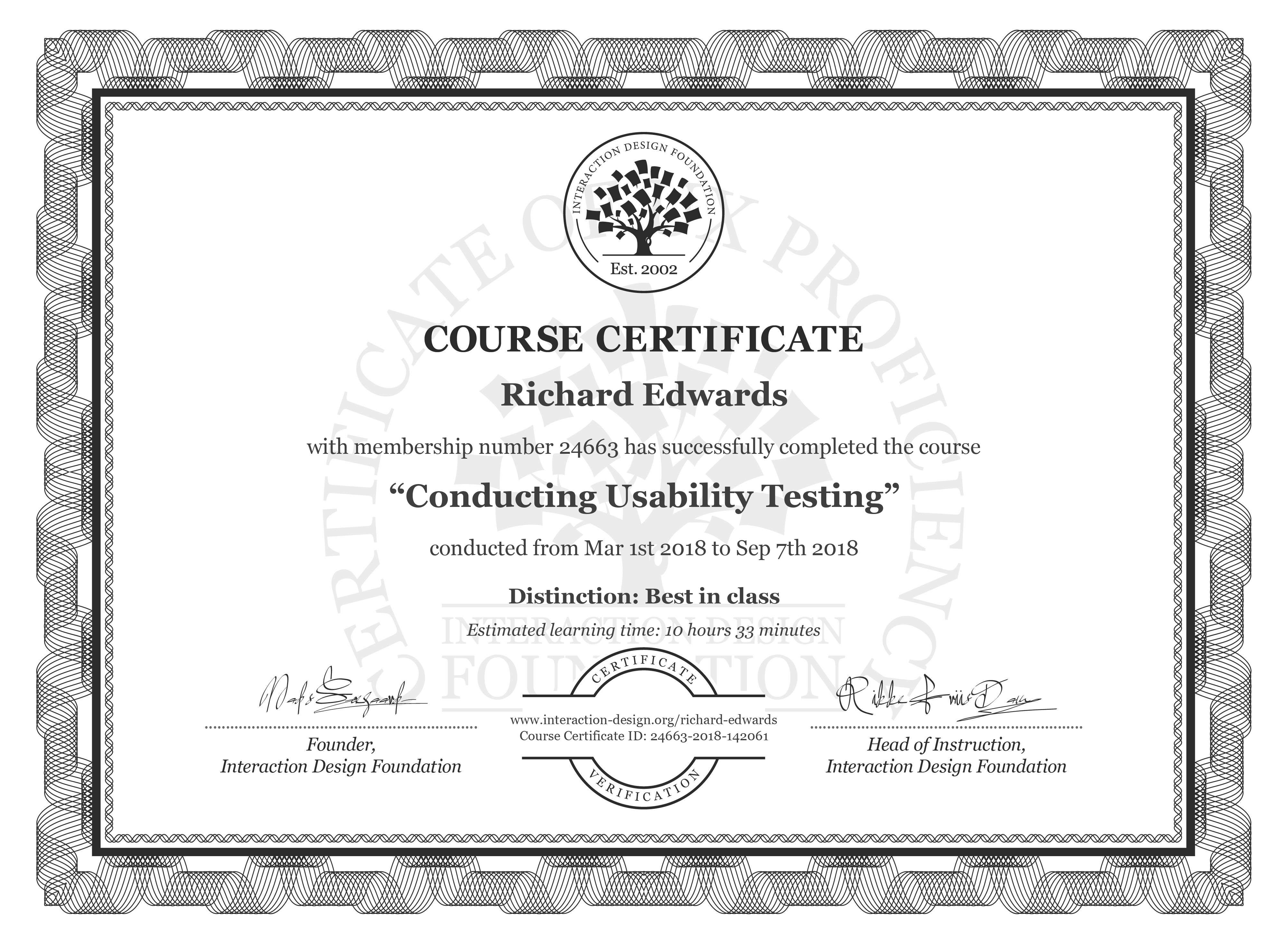 Richard Edwards's Course Certificate: Conducting Usability Testing