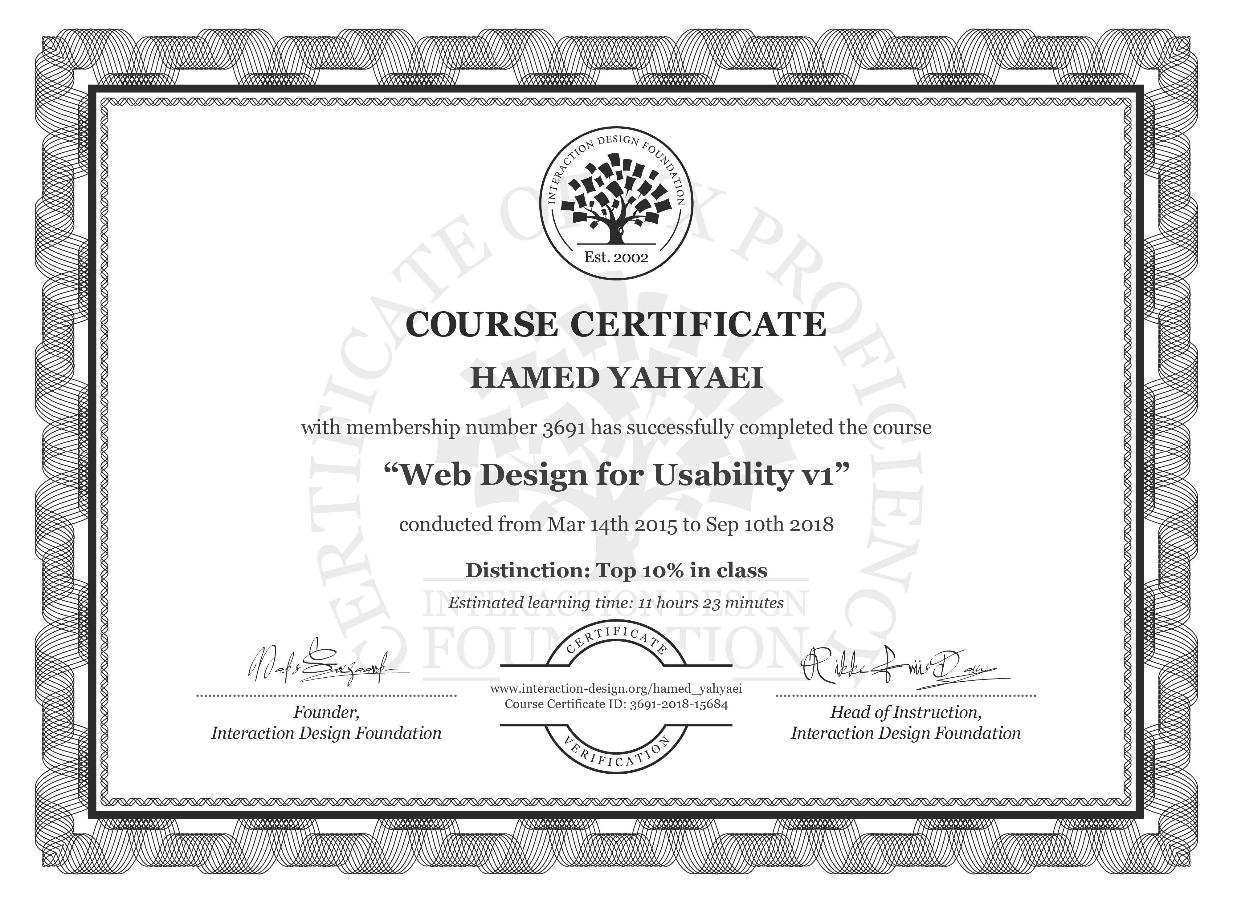 Hamed Yahyaei: Course Certificate - Web Design for Usability
