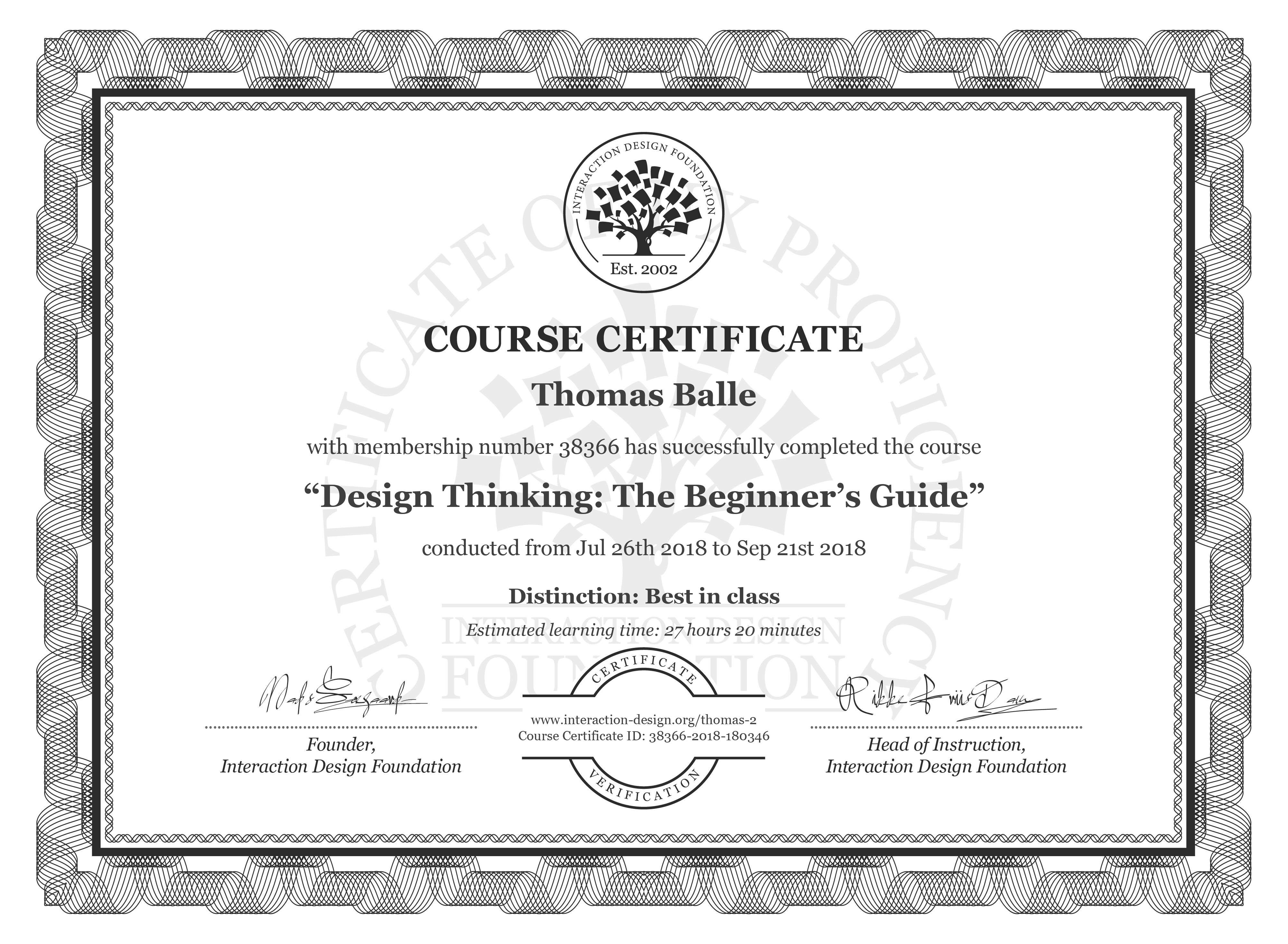 Thomas Balle's Course Certificate: Design Thinking: The Beginner's Guide