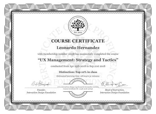 Leonardo Hernandez's Course Certificate: UX Management: Strategy and Tactics