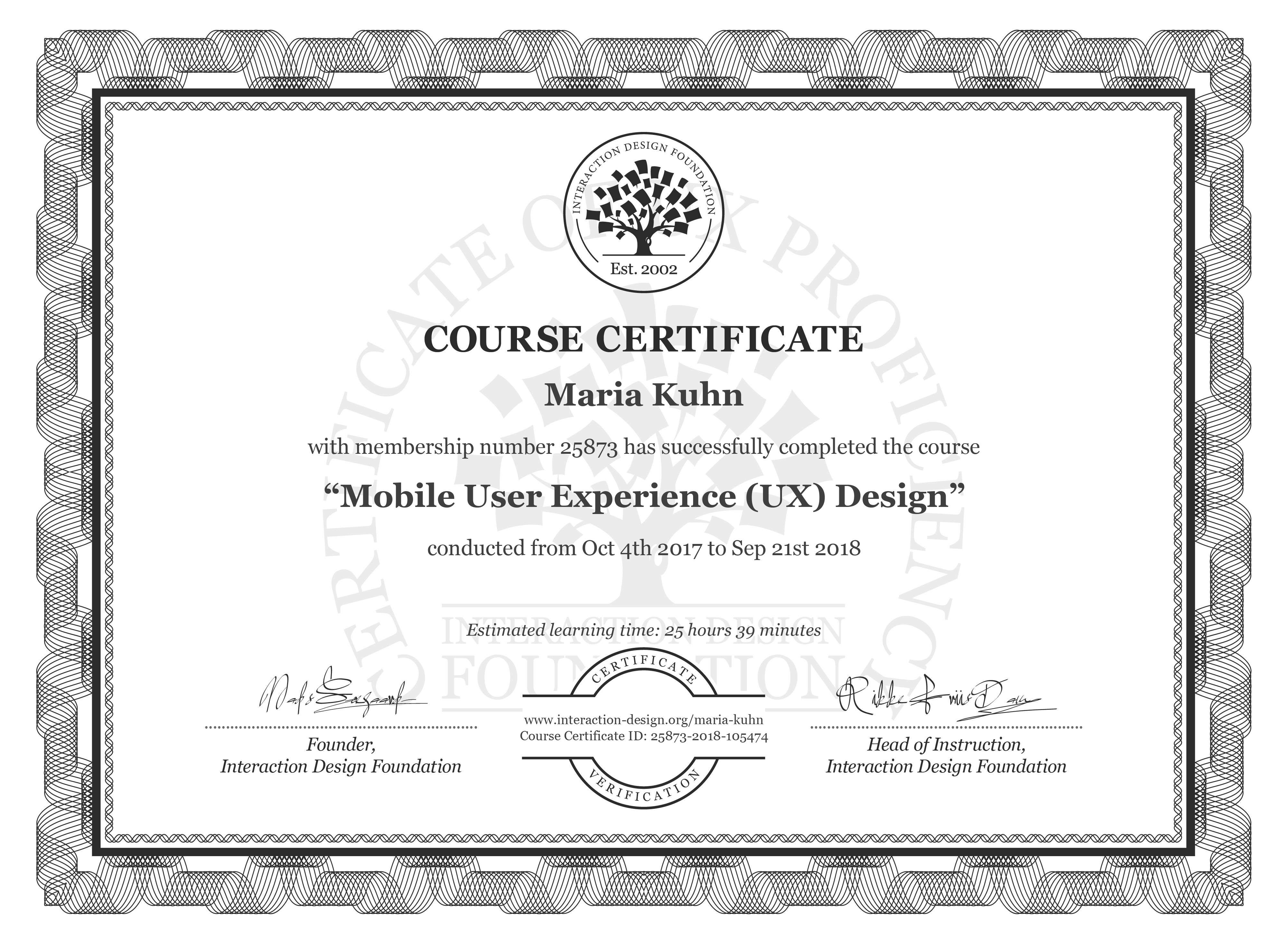 Maria Kuhn: Course Certificate - Mobile User Experience (UX) Design