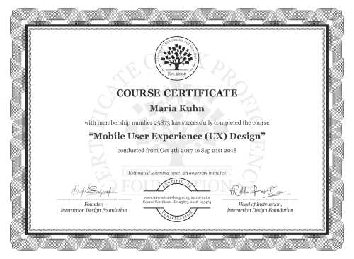 Maria Kuhn's Course Certificate: Mobile User Experience (UX) Design