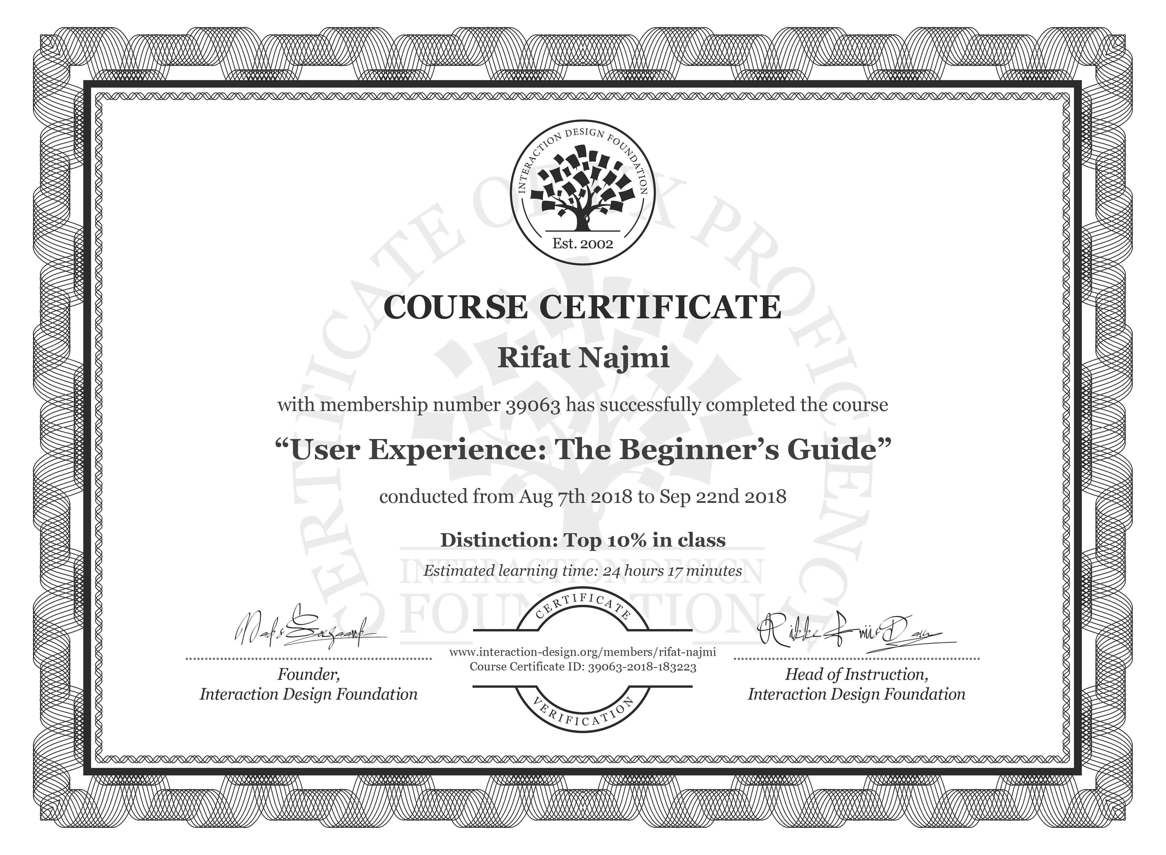 Rifat Najmi: Course Certificate - Become a UX Designer from Scratch