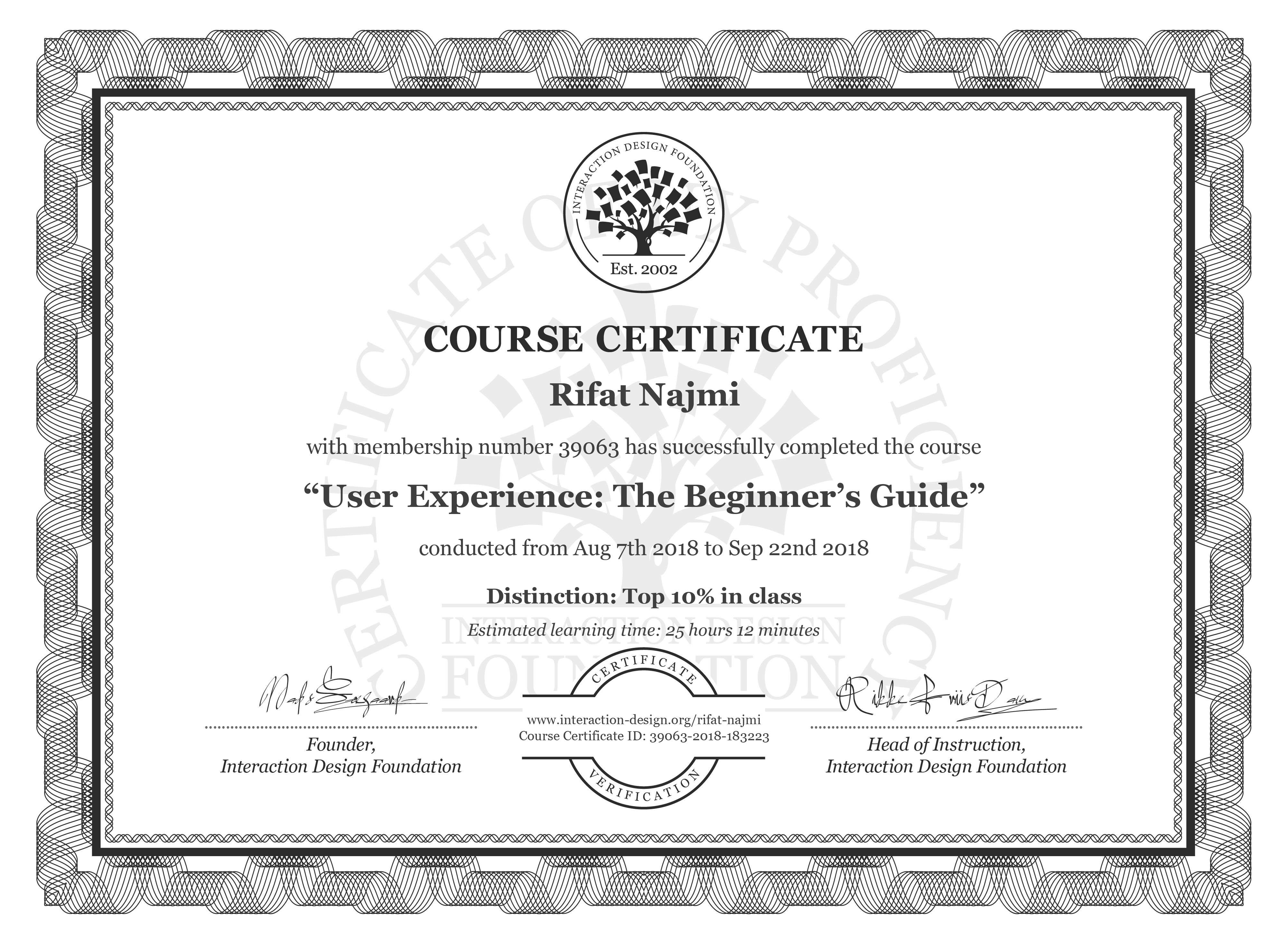 Rifat Najmi's Course Certificate: Become a UX Designer from Scratch