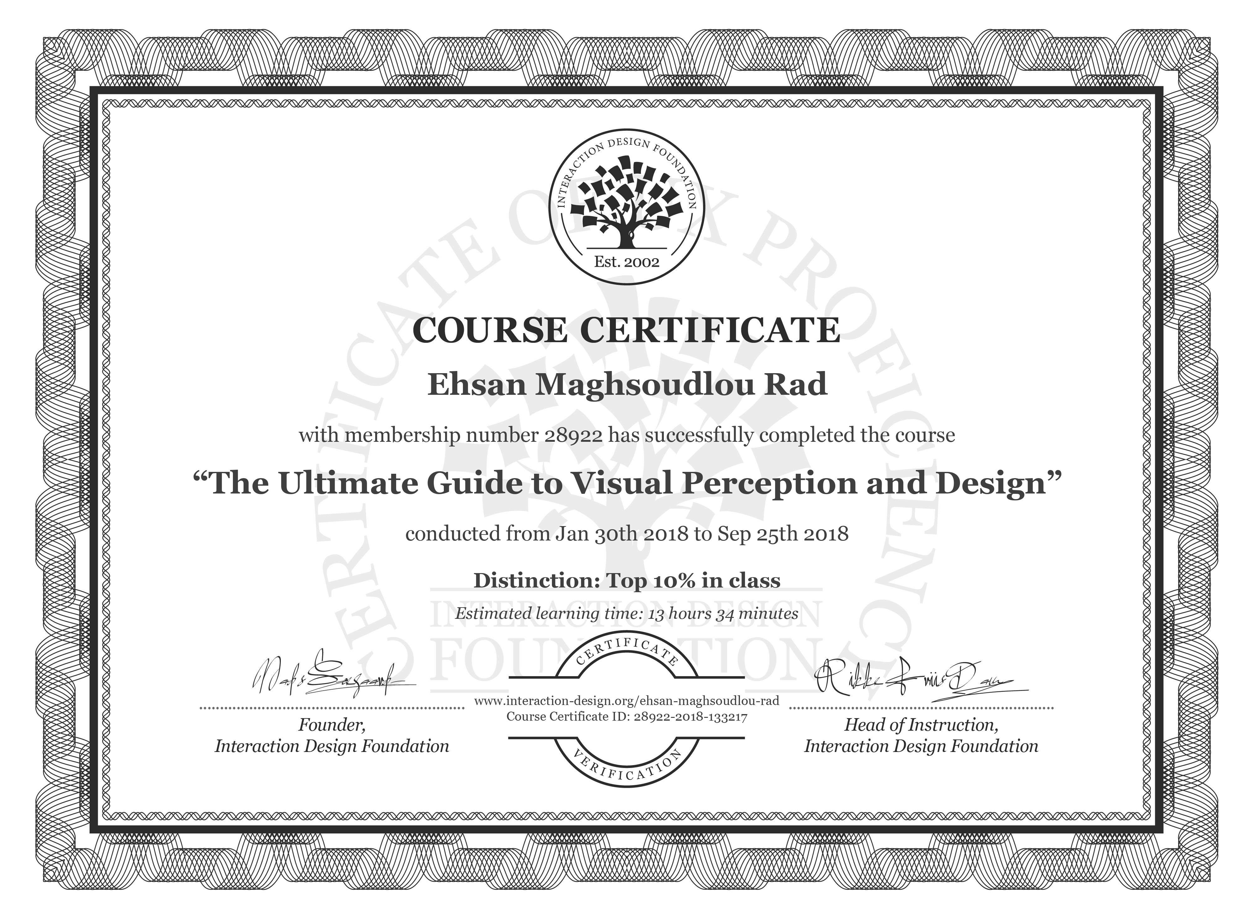 Ehsan Maghsoudlou Rad's Course Certificate: The Ultimate Guide to Visual Perception and Design