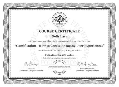 Gelis Lara's Course Certificate: Gamification – Creating Addictive User Experiences