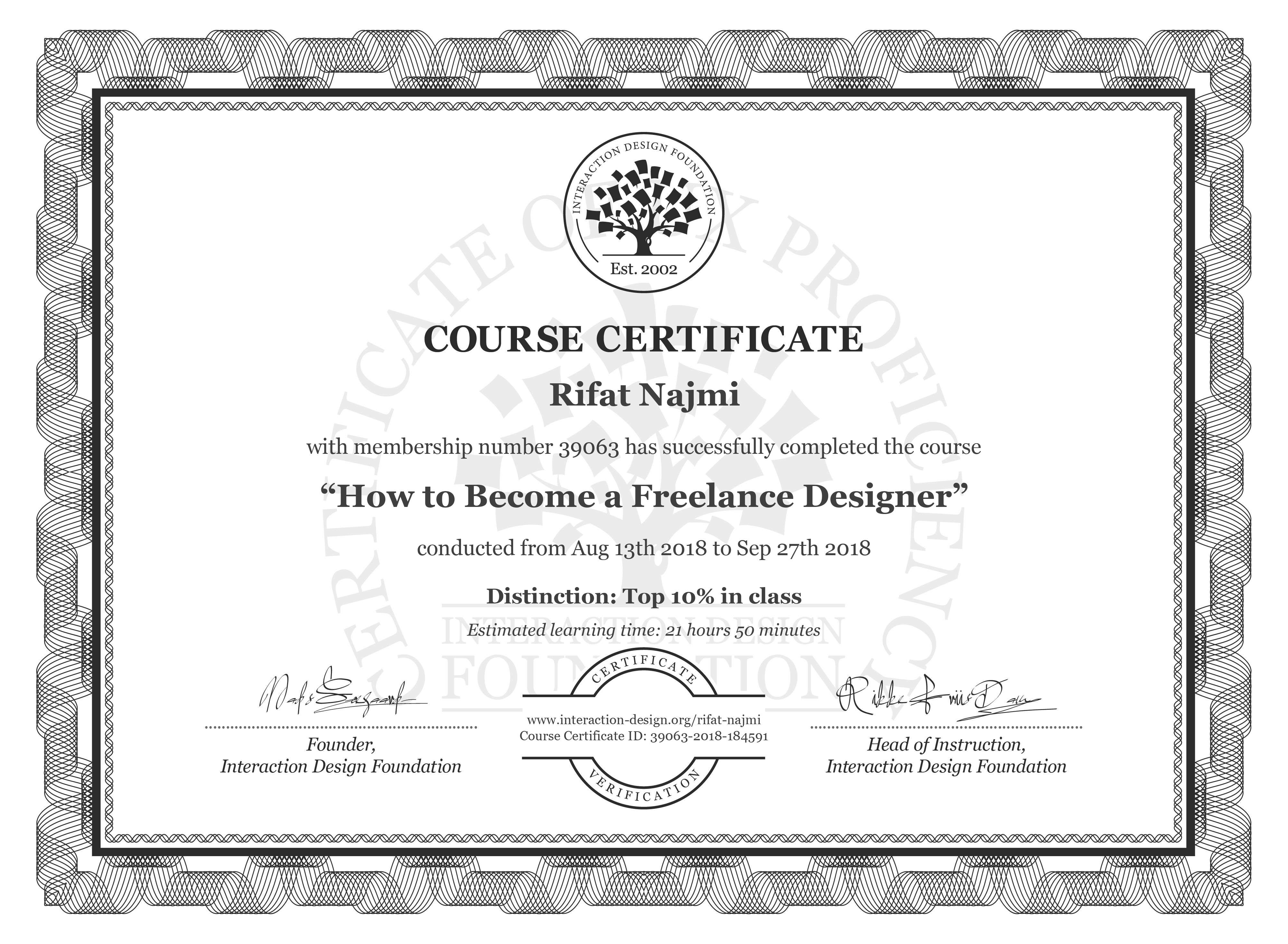 Rifat Najmi: Course Certificate - How to Become a Freelance Designer