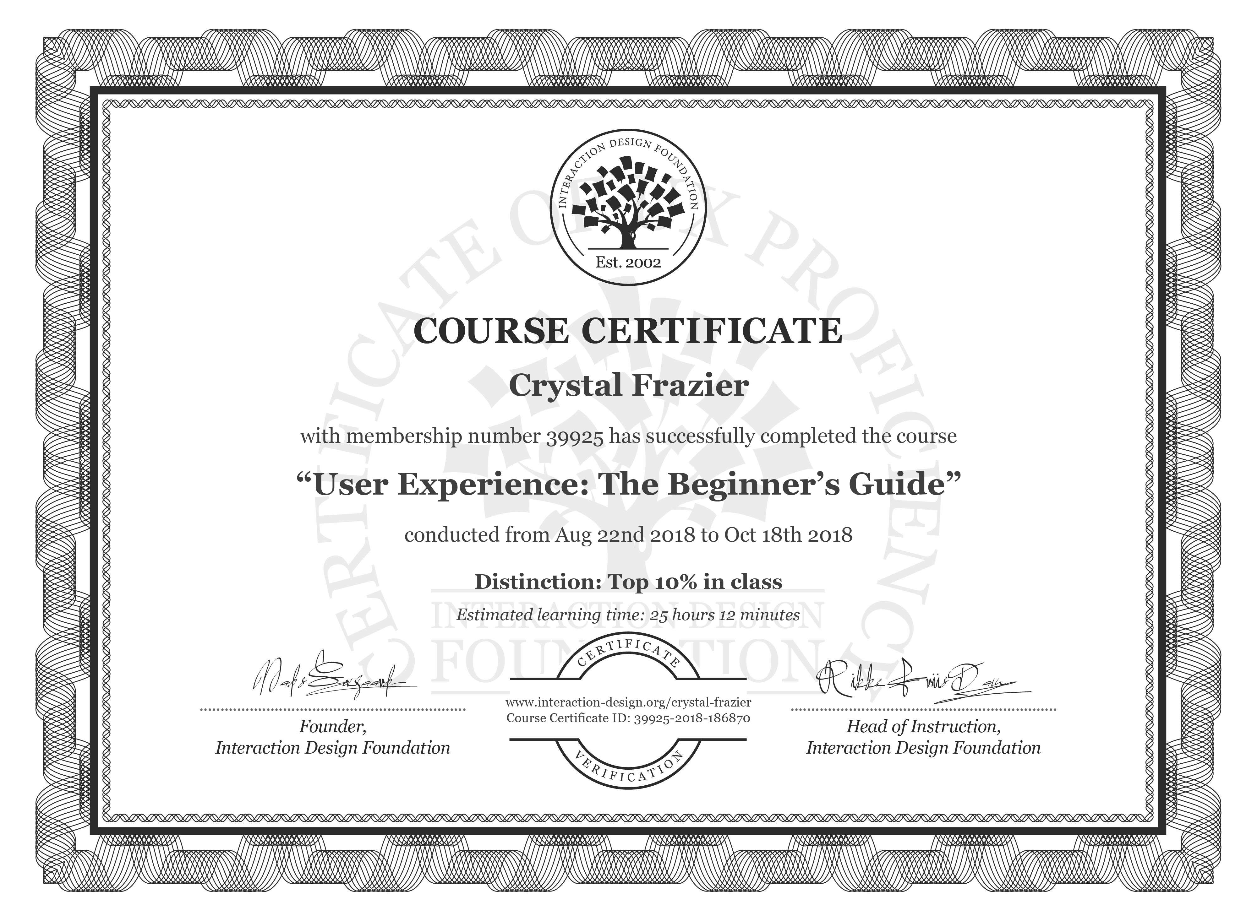 Crystal Frazier's Course Certificate: Become a UX Designer from Scratch