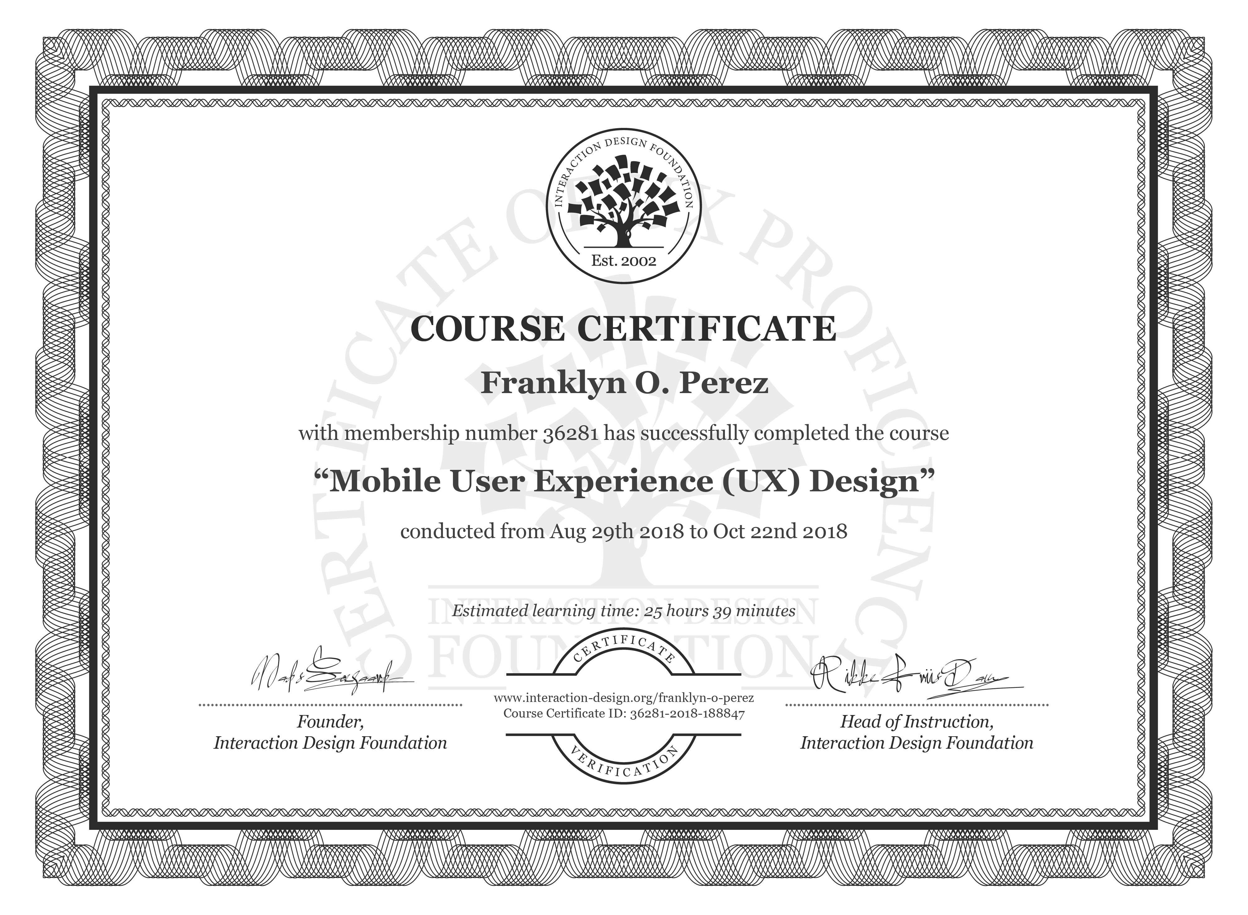 Franklyn O. Perez: Course Certificate - Mobile User Experience (UX) Design