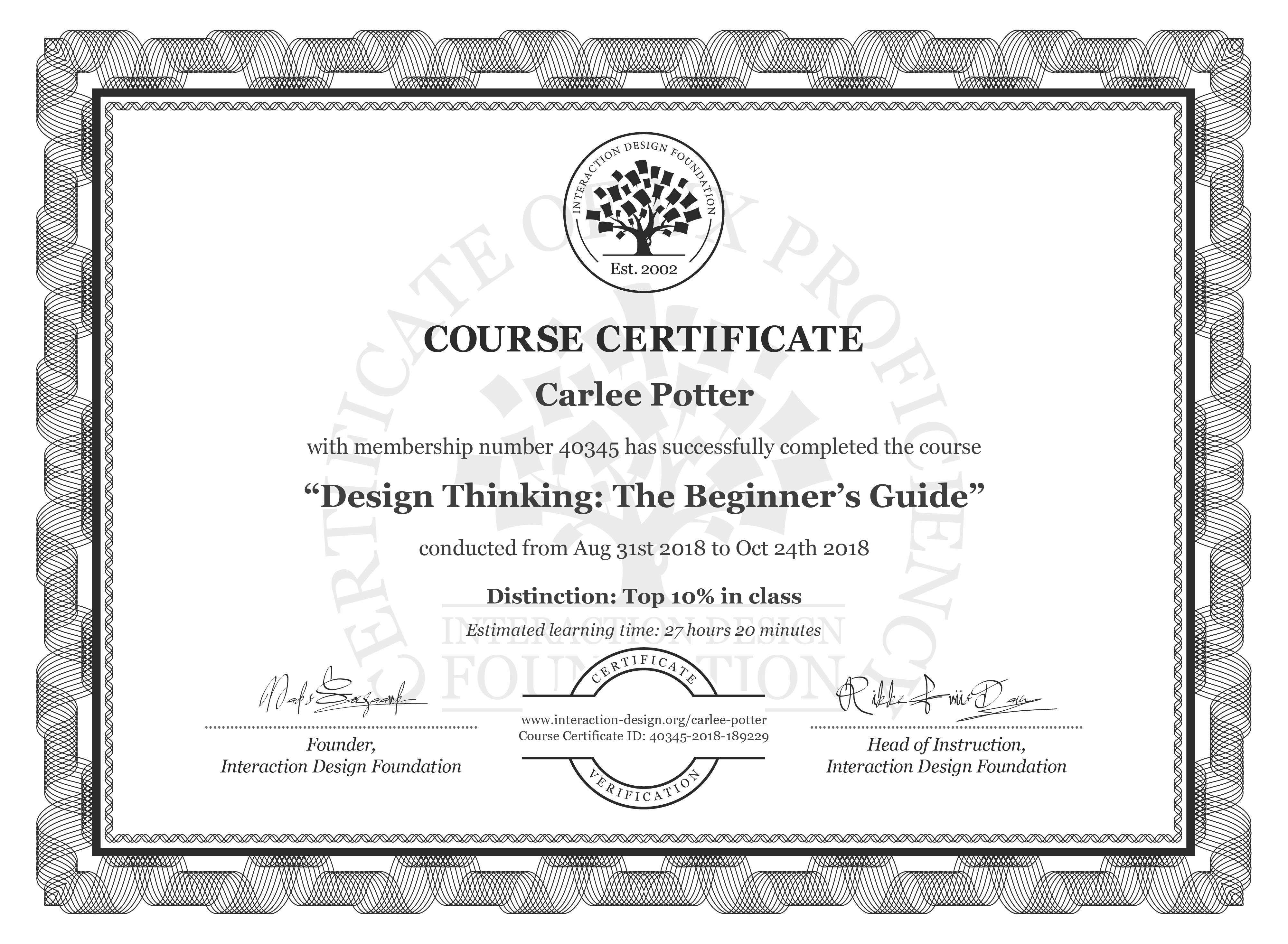 Carlee Potter: Course Certificate - Design Thinking: The Beginner's Guide