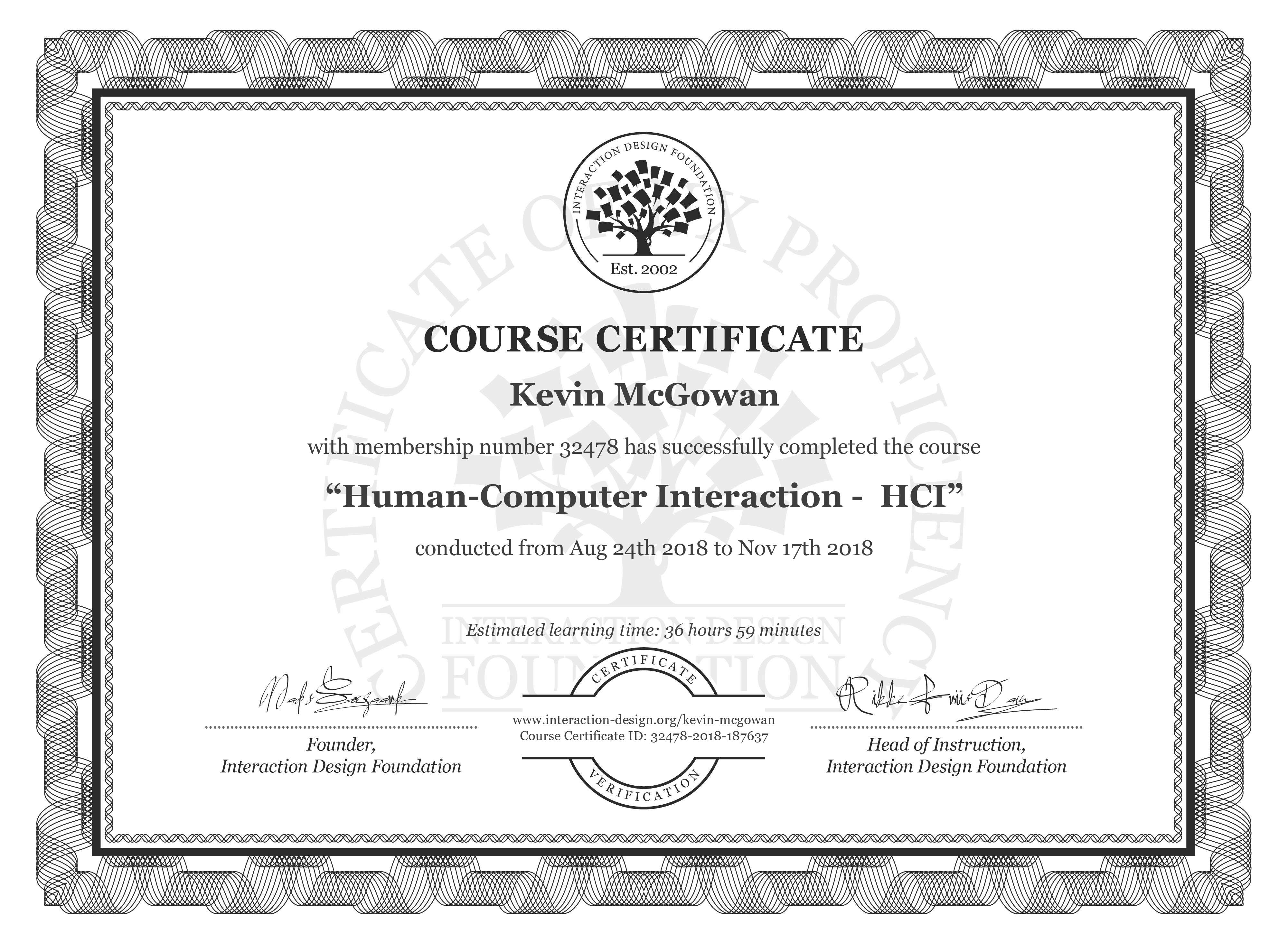 Kevin McGowan's Course Certificate: Human-Computer Interaction -  HCI