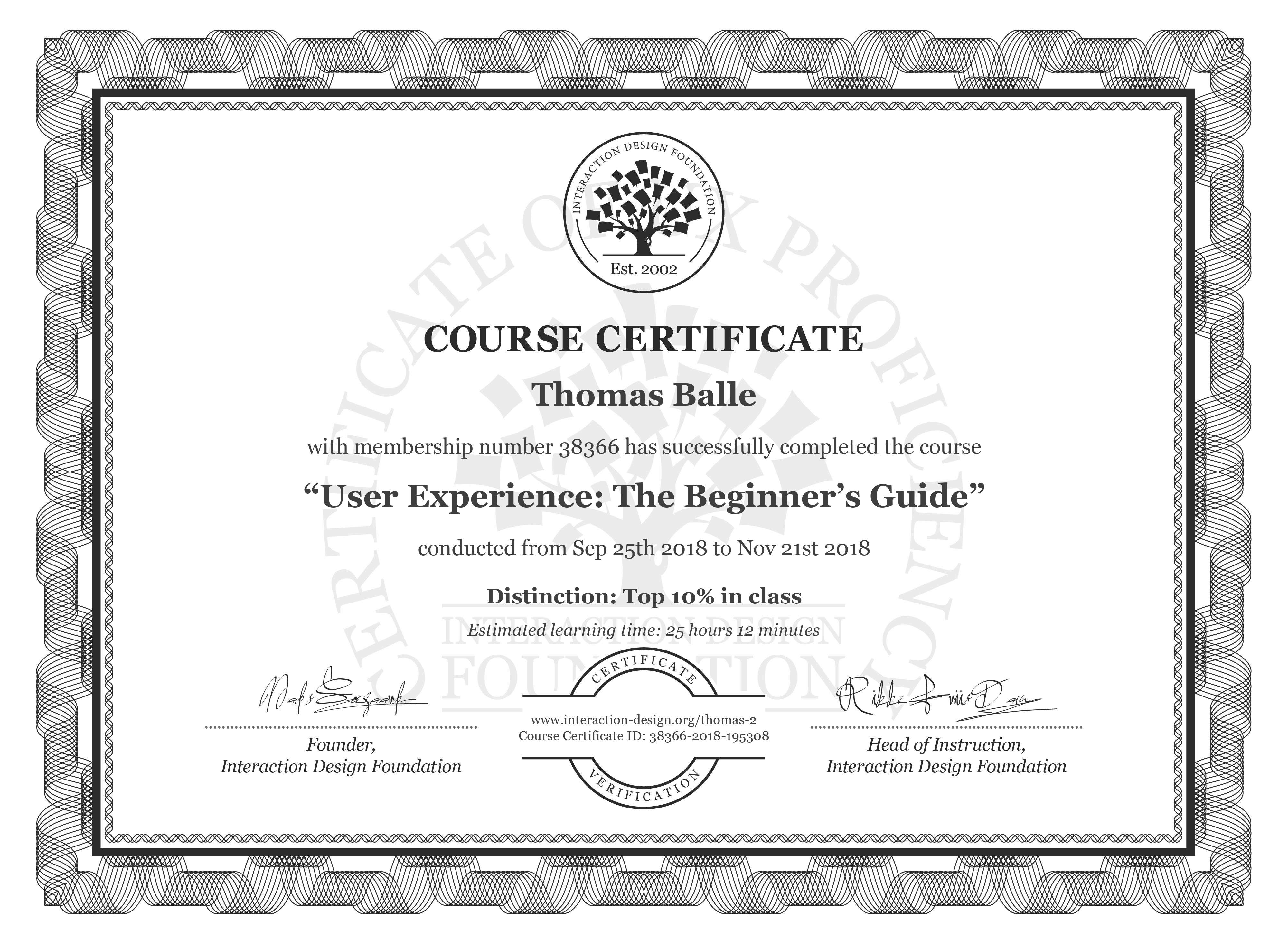 Thomas Balle: Course Certificate - Become a UX Designer from Scratch