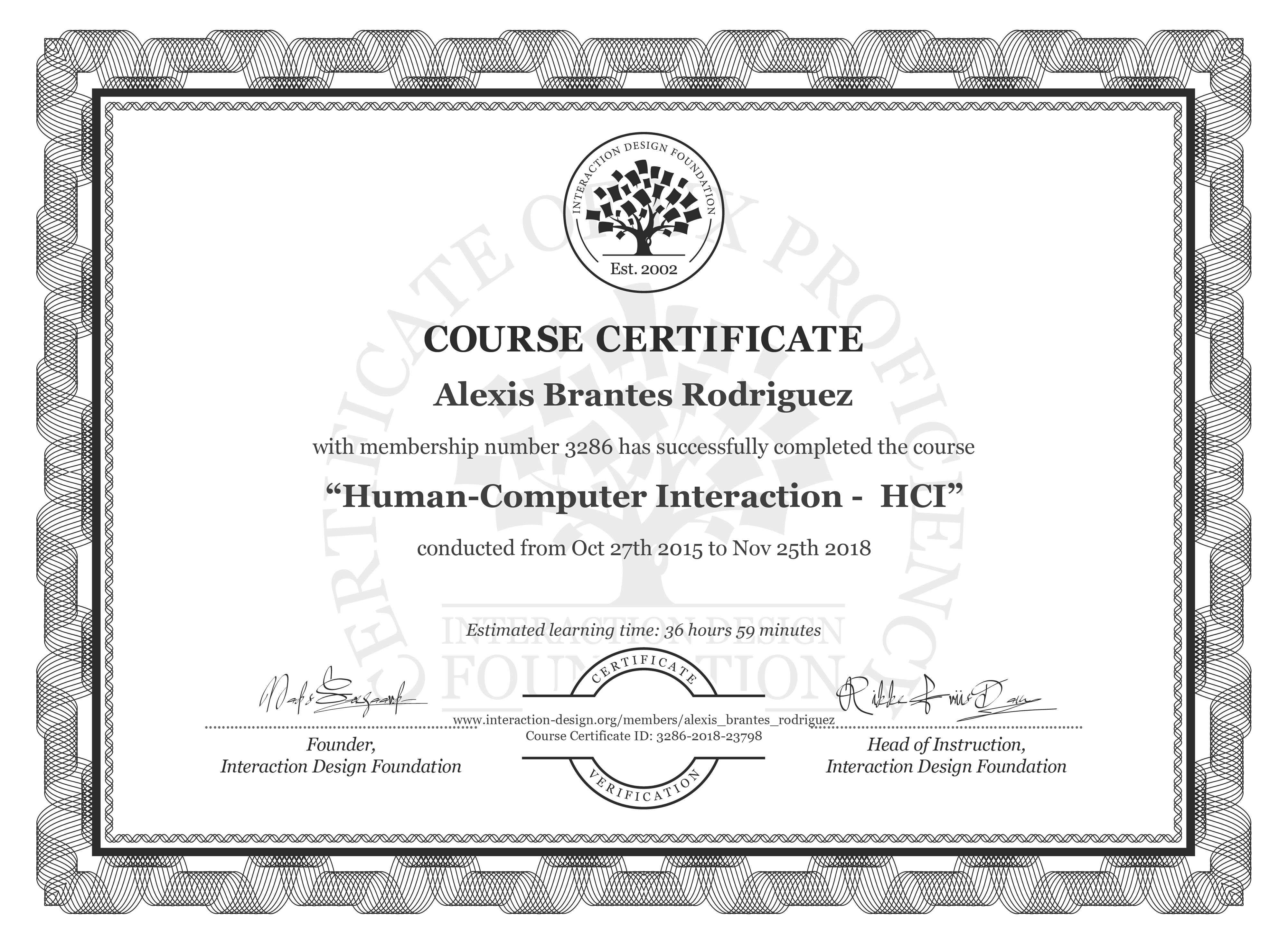Alexis Brantes Rodriguez: Course Certificate - Human-Computer Interaction -  HCI
