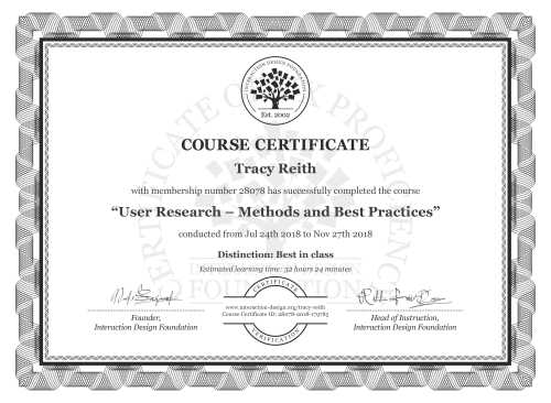Tracy Reith's Course Certificate: User Research – Methods and Best Practices