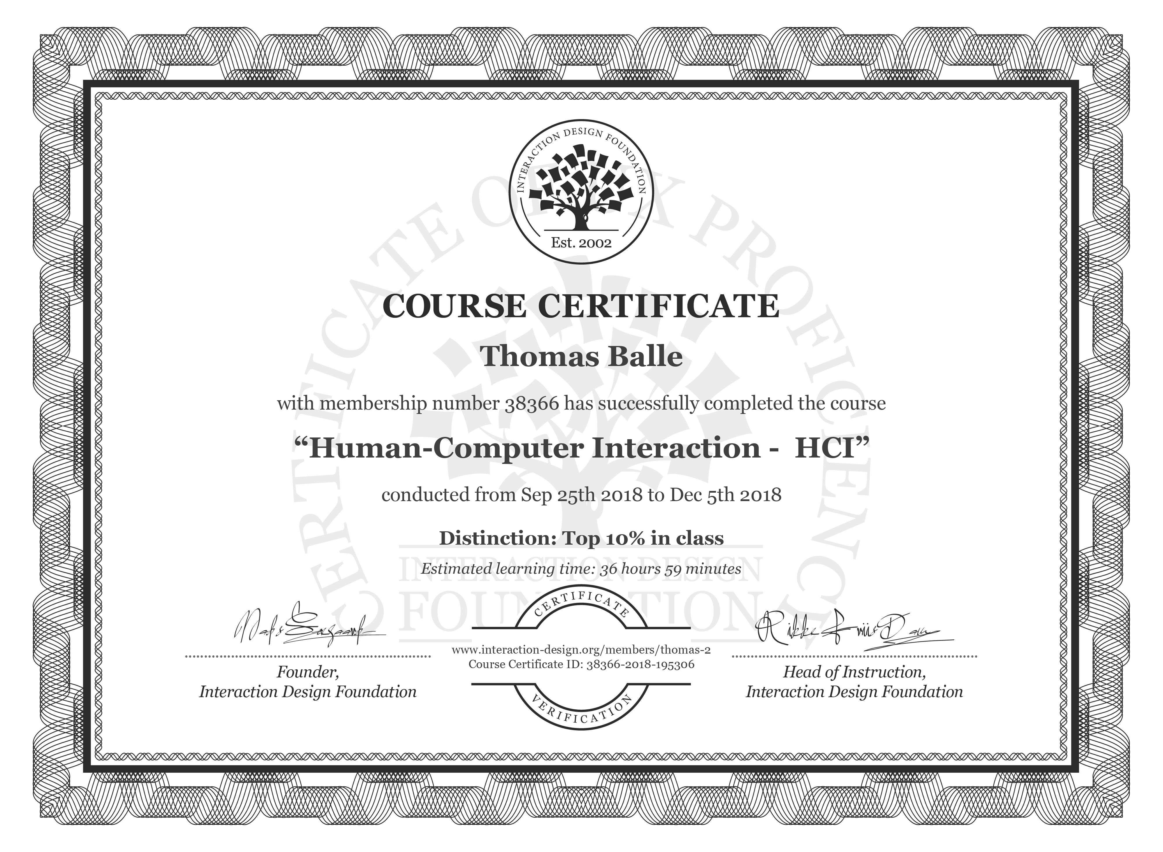 Thomas Balle: Course Certificate - Human-Computer Interaction -  HCI