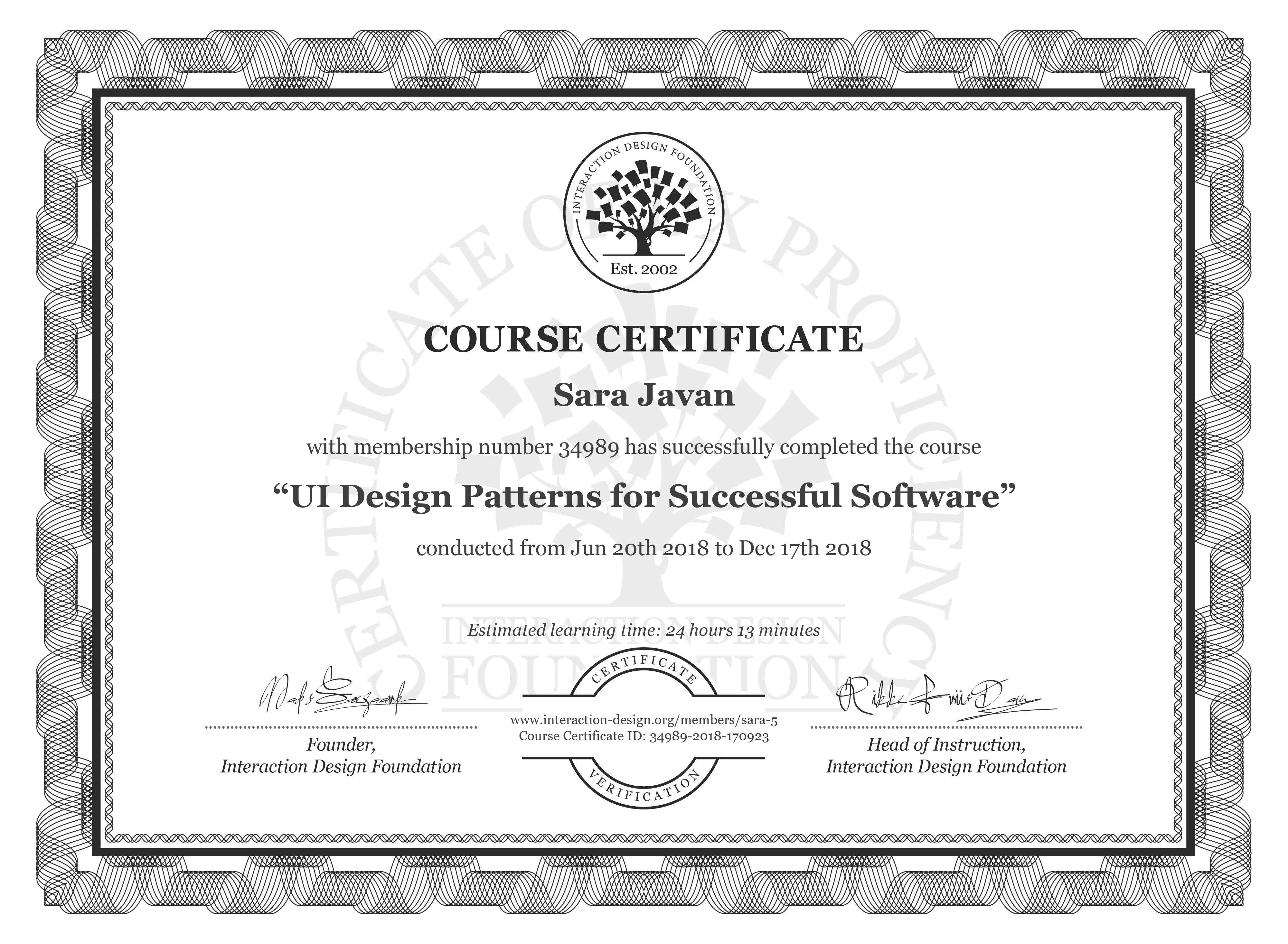 Sara Javan's Course Certificate: UI Design Patterns for Successful Software