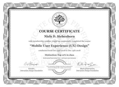Niels D. Siebenborn's Course Certificate: Mobile User Experience (UX) Design