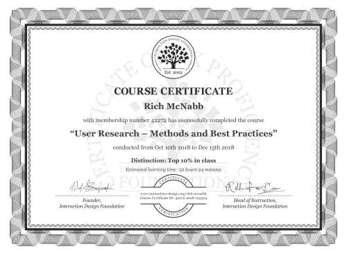 Rich McNabb's Course Certificate: User Research – Methods and Best Practices