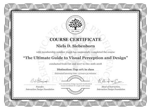 Niels D. Siebenborn's Course Certificate: The Ultimate Guide to Visual Perception and Design