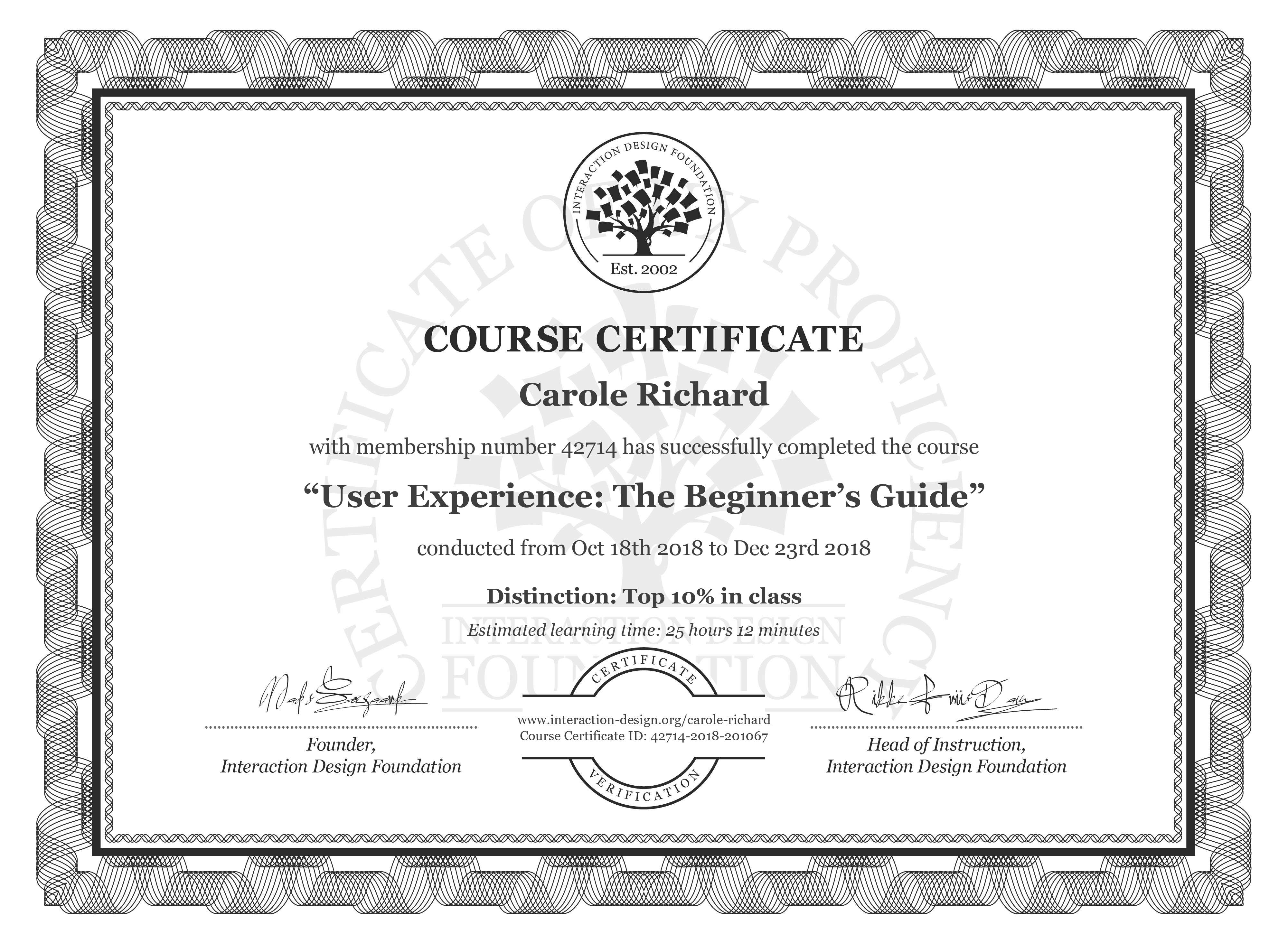 Carole Richard's Course Certificate: Become a UX Designer from Scratch
