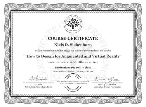 Niels D. Siebenborn's Course Certificate: How to Design for Augmented and Virtual Reality