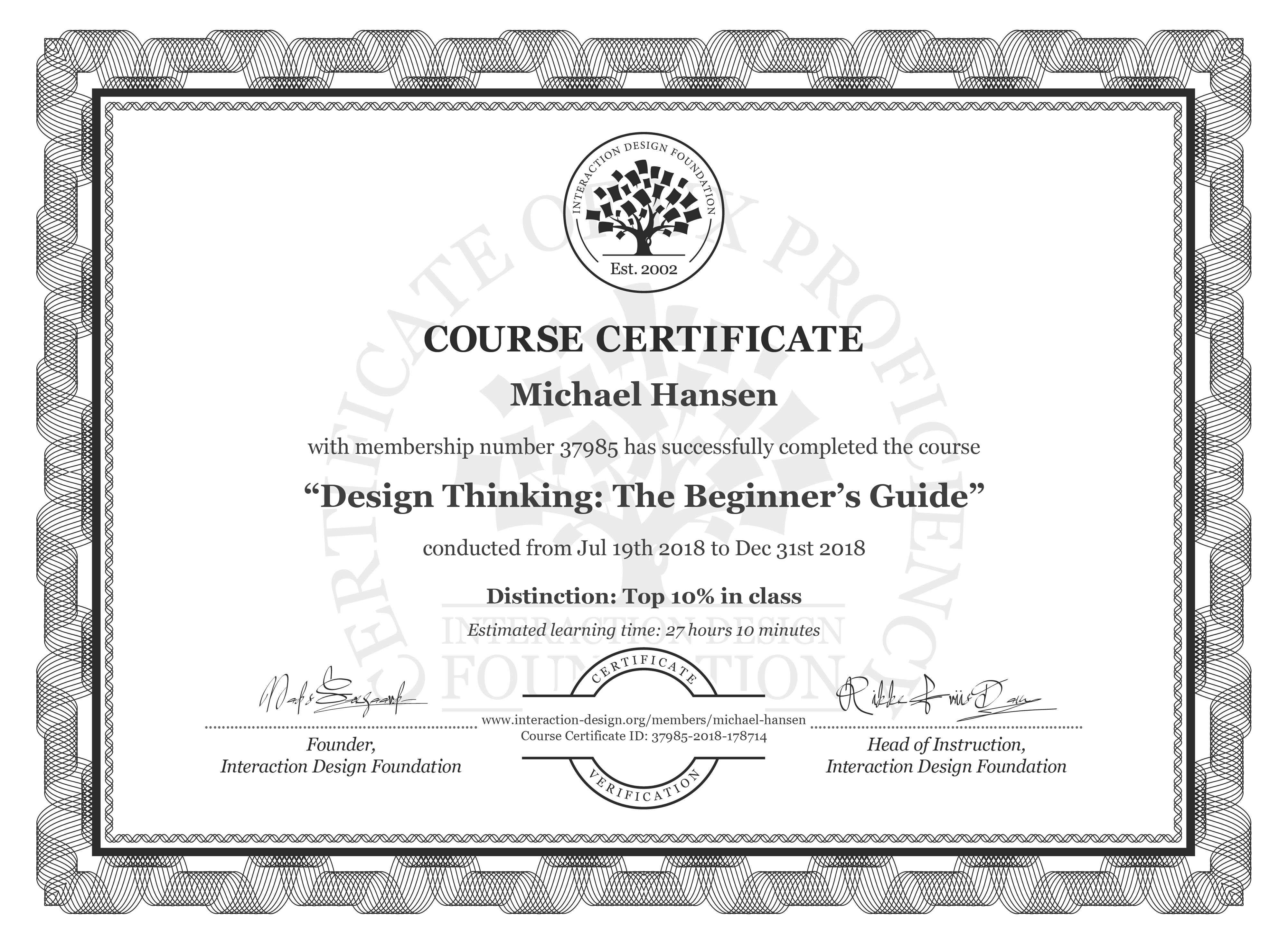 Michael Hansen's Course Certificate: Design Thinking: The Beginner's Guide