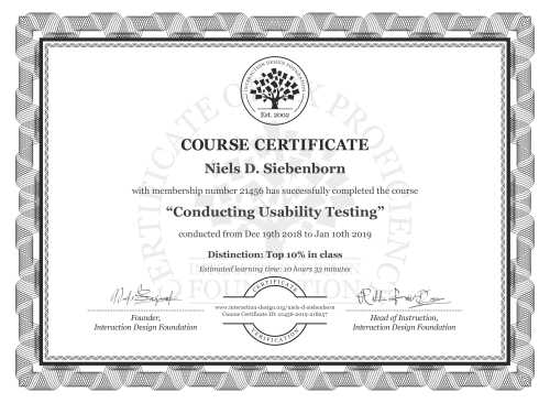 Niels D. Siebenborn's Course Certificate: Conducting Usability Testing
