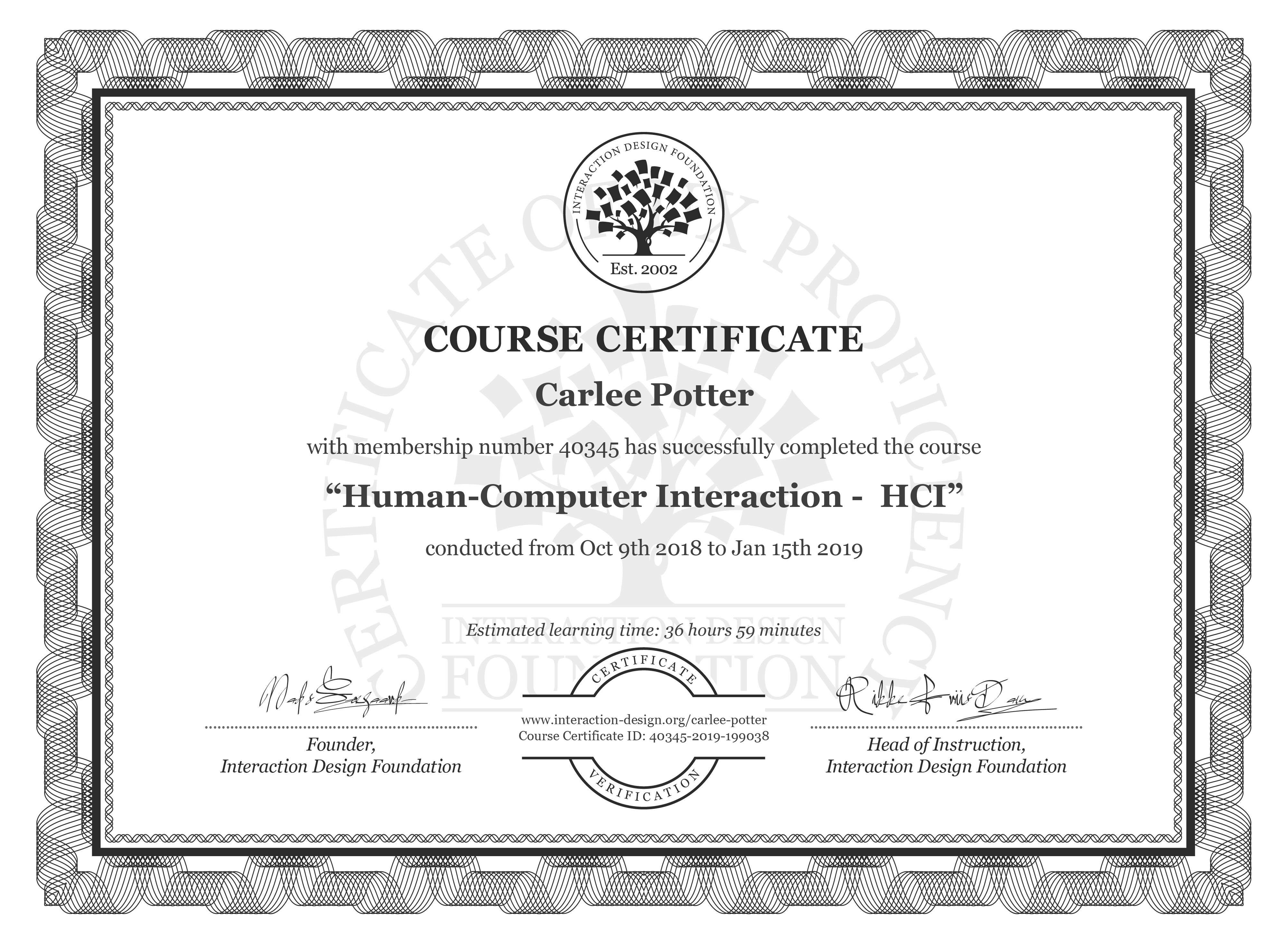 Carlee Potter: Course Certificate - Human-Computer Interaction -  HCI