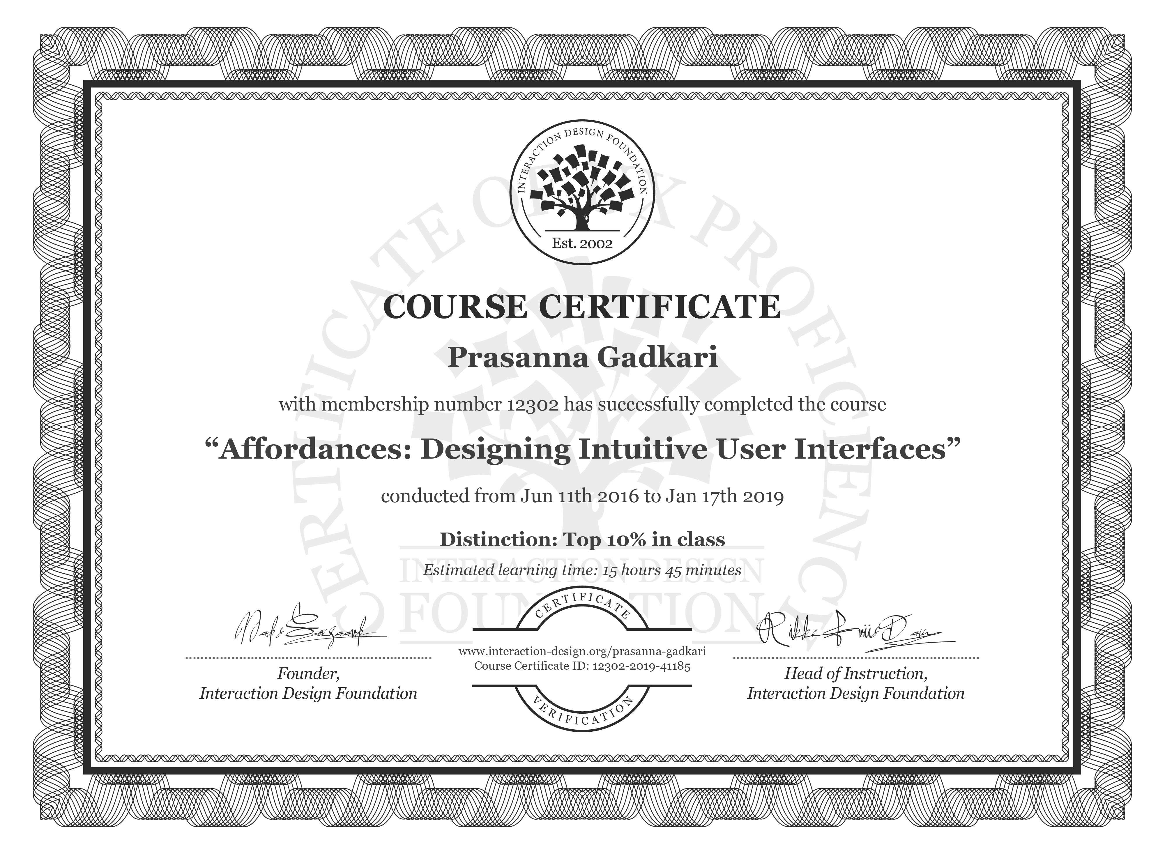 Prasanna Gadkari: Course Certificate - Affordances: Designing Intuitive User Interfaces