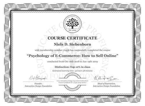 Niels D. Siebenborn's Course Certificate: Psychology of E-Commerce: How to Sell Online