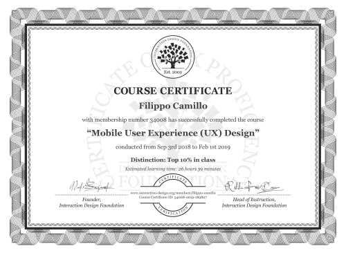 Filippo Camillo's Course Certificate: Mobile User Experience (UX) Design