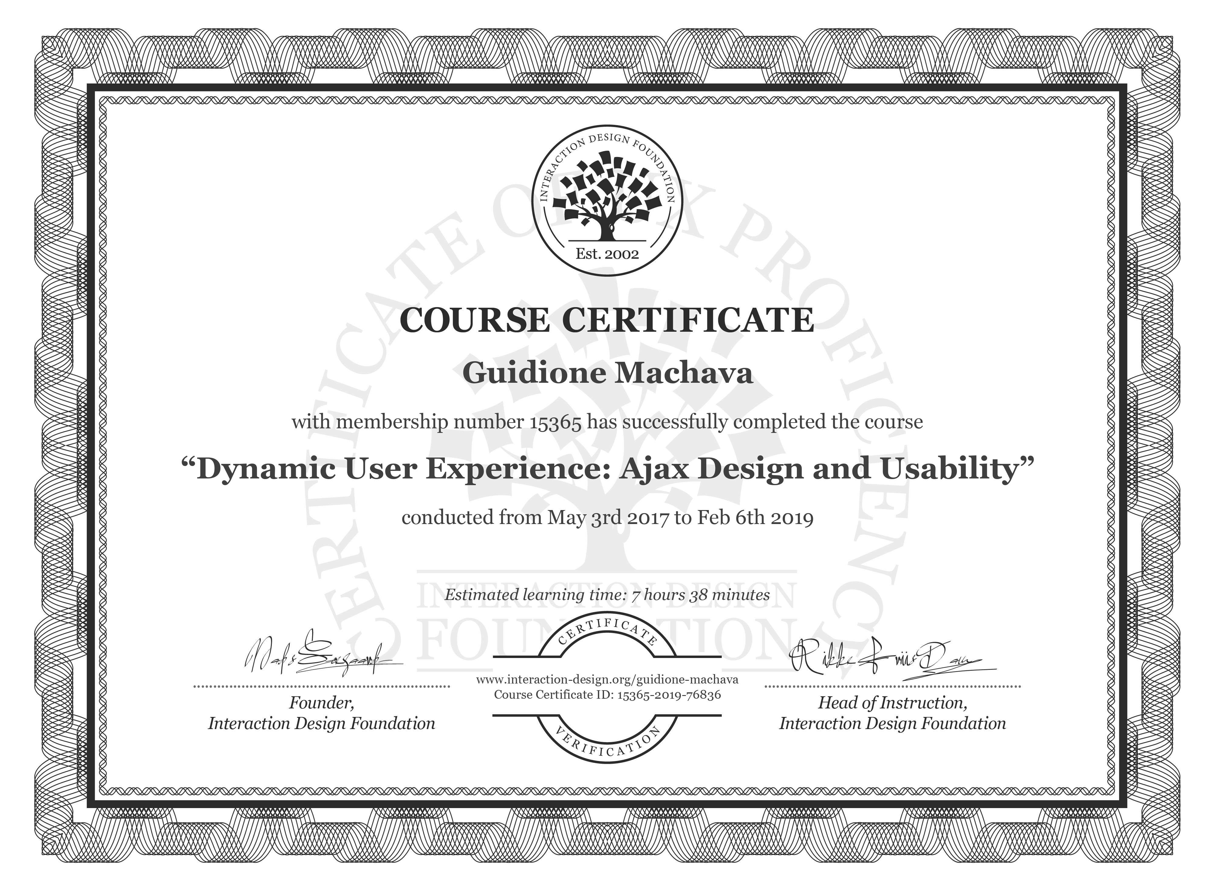 Guidione Machava: Course Certificate - Dynamic User Experience: Ajax Design and Usability